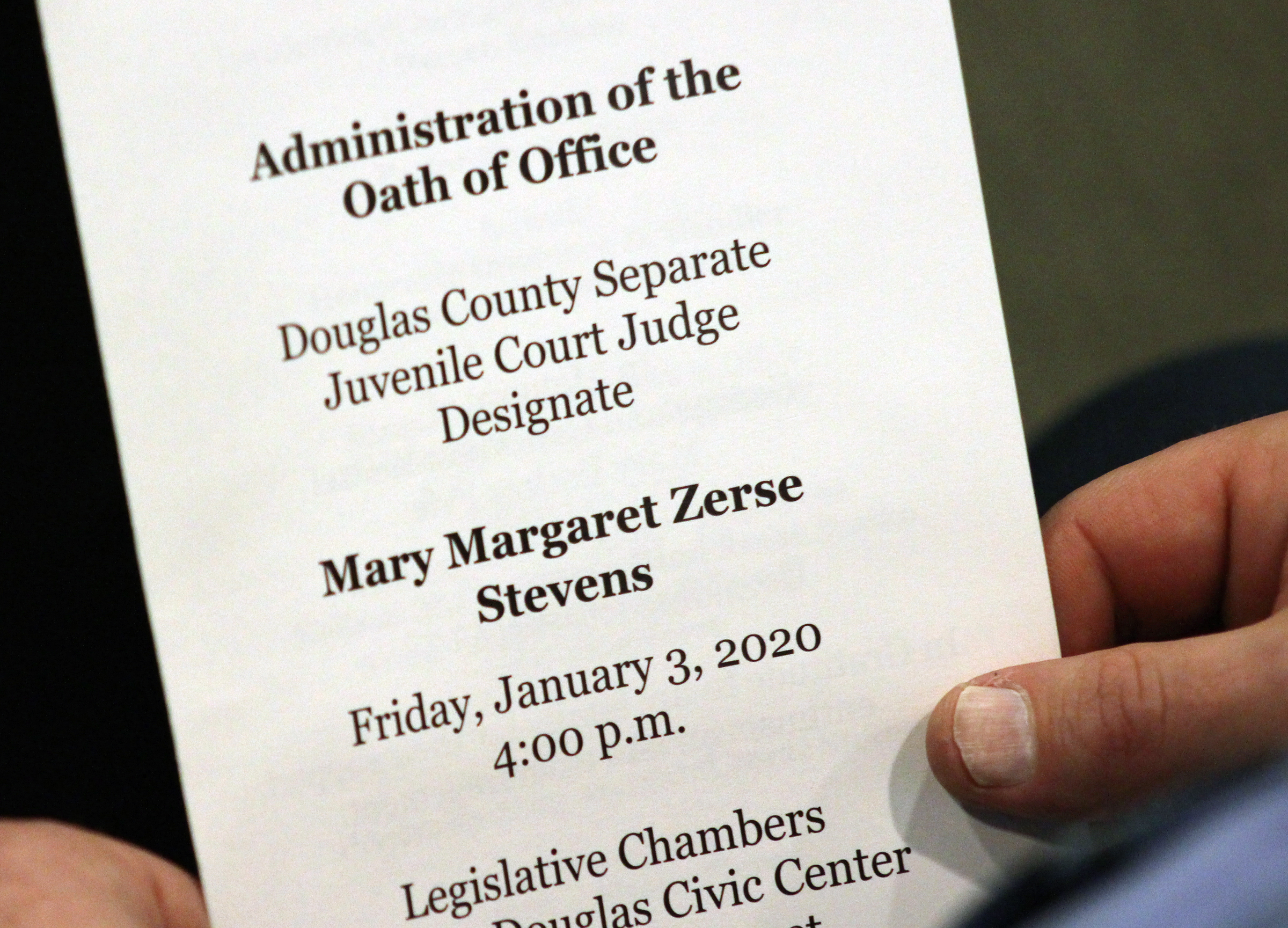"An investiture ceremony was held for Douglas County Juvenile Court Judge Mary ""Peg"" M.Z. Stevens in the Legislative Chambers of the Omaha-Douglas County Civic Center on Friday, Jan. 3, 2020. (Photo by Scott Stewart)"