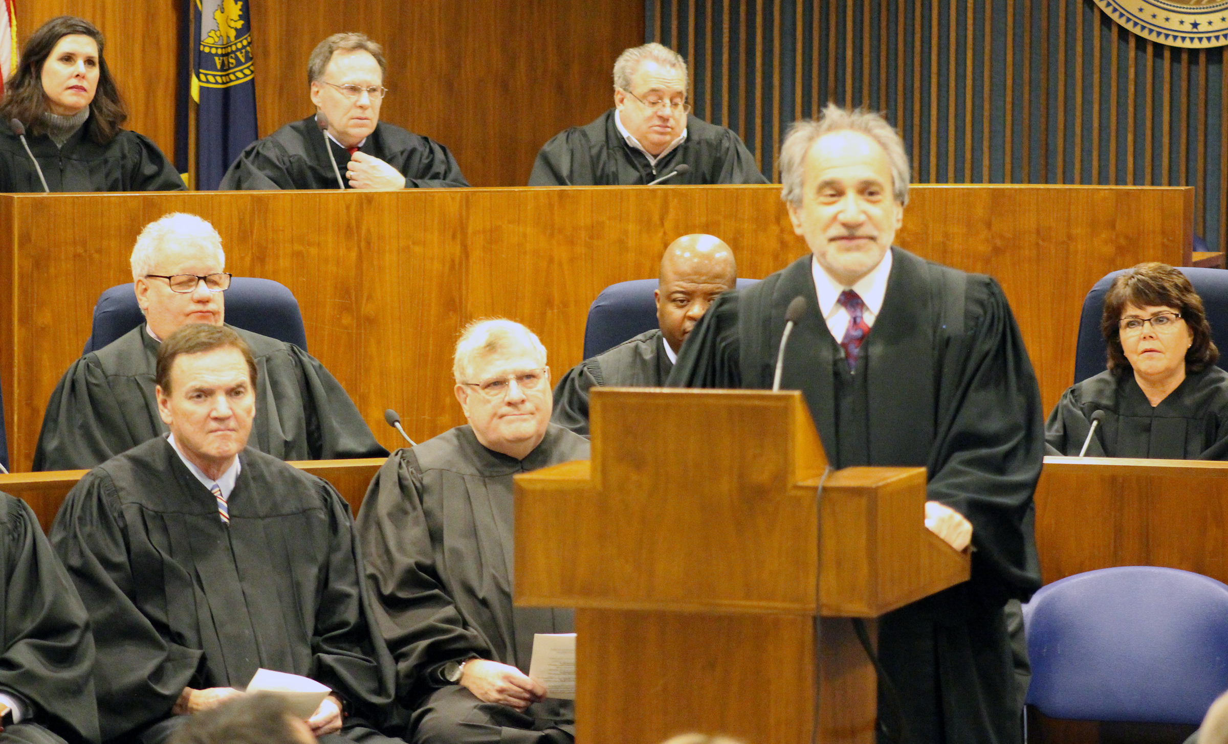 Judge Lawrence D. Gendler delivers remarks during an investiture ceremony in the Legislative Chambers of the Omaha-Douglas County Civic Center on Friday, Jan. 3, 2020. (Photo by Scott Stewart)