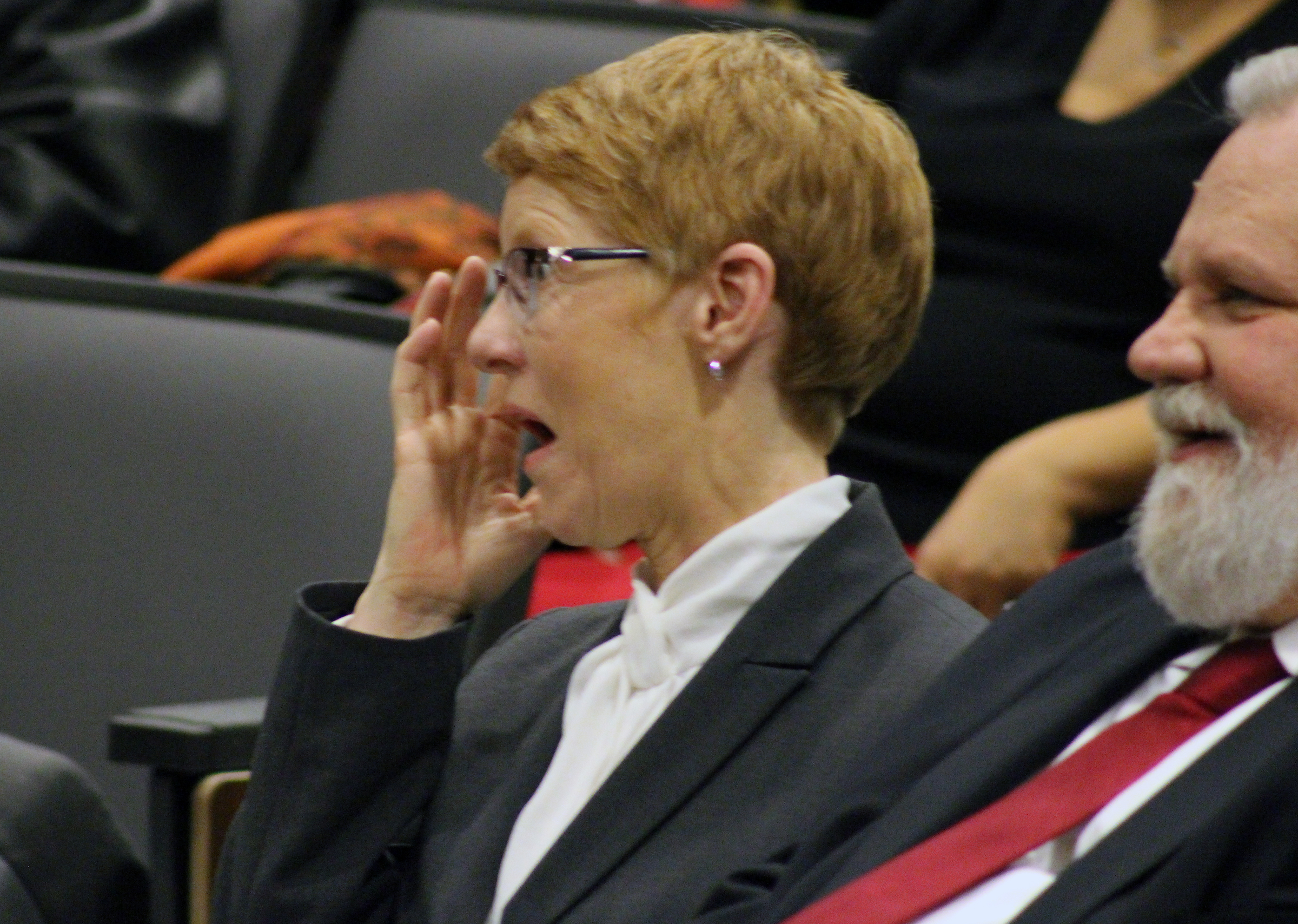 "Mary ""Peg"" M.Z. Stevens reacts to comments during an investiture ceremony in the Legislative Chambers of the Omaha-Douglas County Civic Center on Friday, Jan. 3, 2020. (Photo by Scott Stewart)"