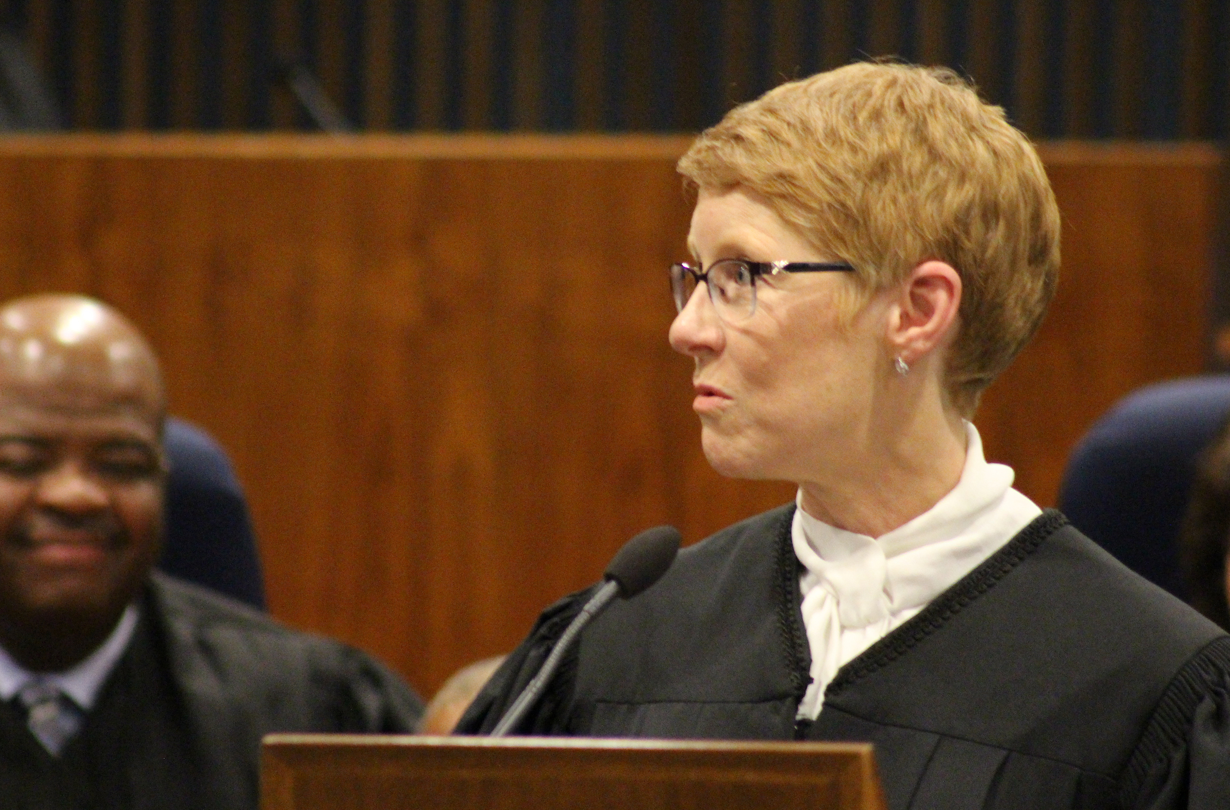 "Douglas County Juvenile Court Judge Mary ""Peg"" M.Z. Stevens delivers remarks during an investiture ceremony in the Legislative Chambers of the Omaha-Douglas County Civic Center on Friday, Jan. 3, 2020. (Photo by Scott Stewart)"