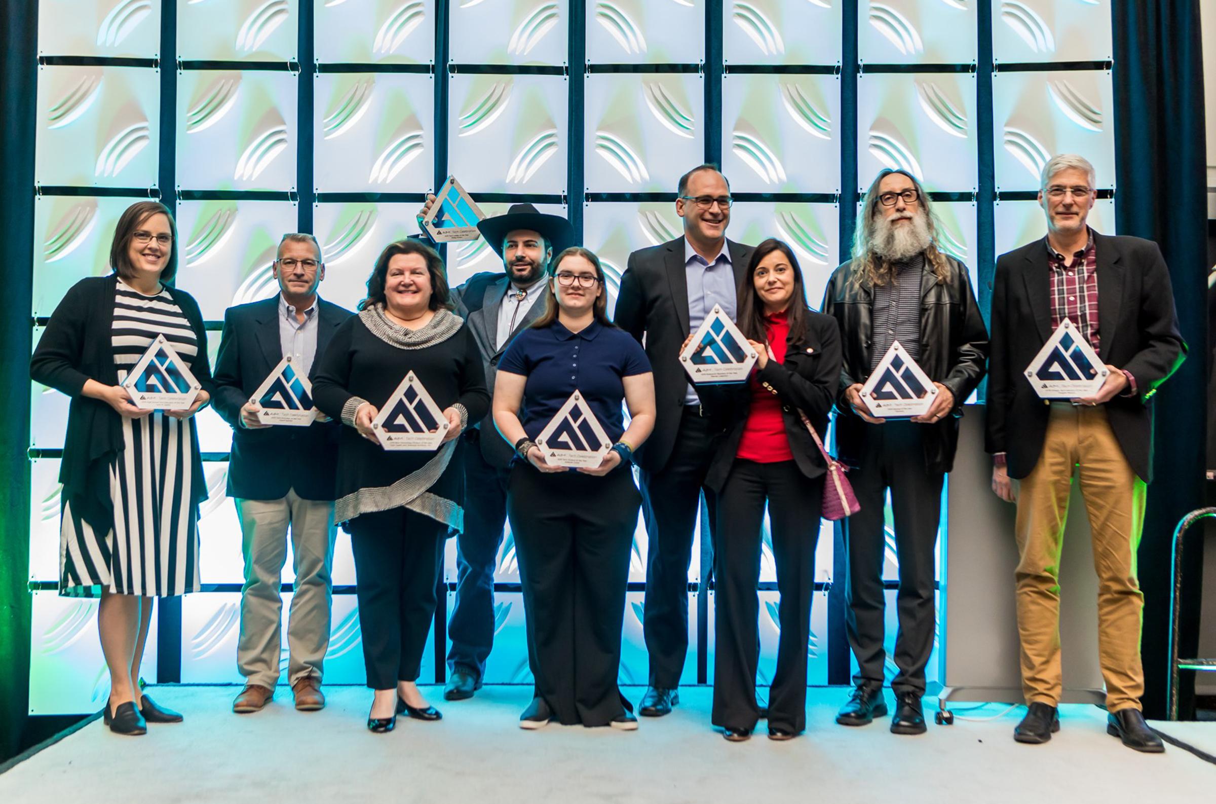 Award winners pose for a photo at the AIM Tech Celebration on Thursday, Nov. 14, 2019. (Courtesy AIM)