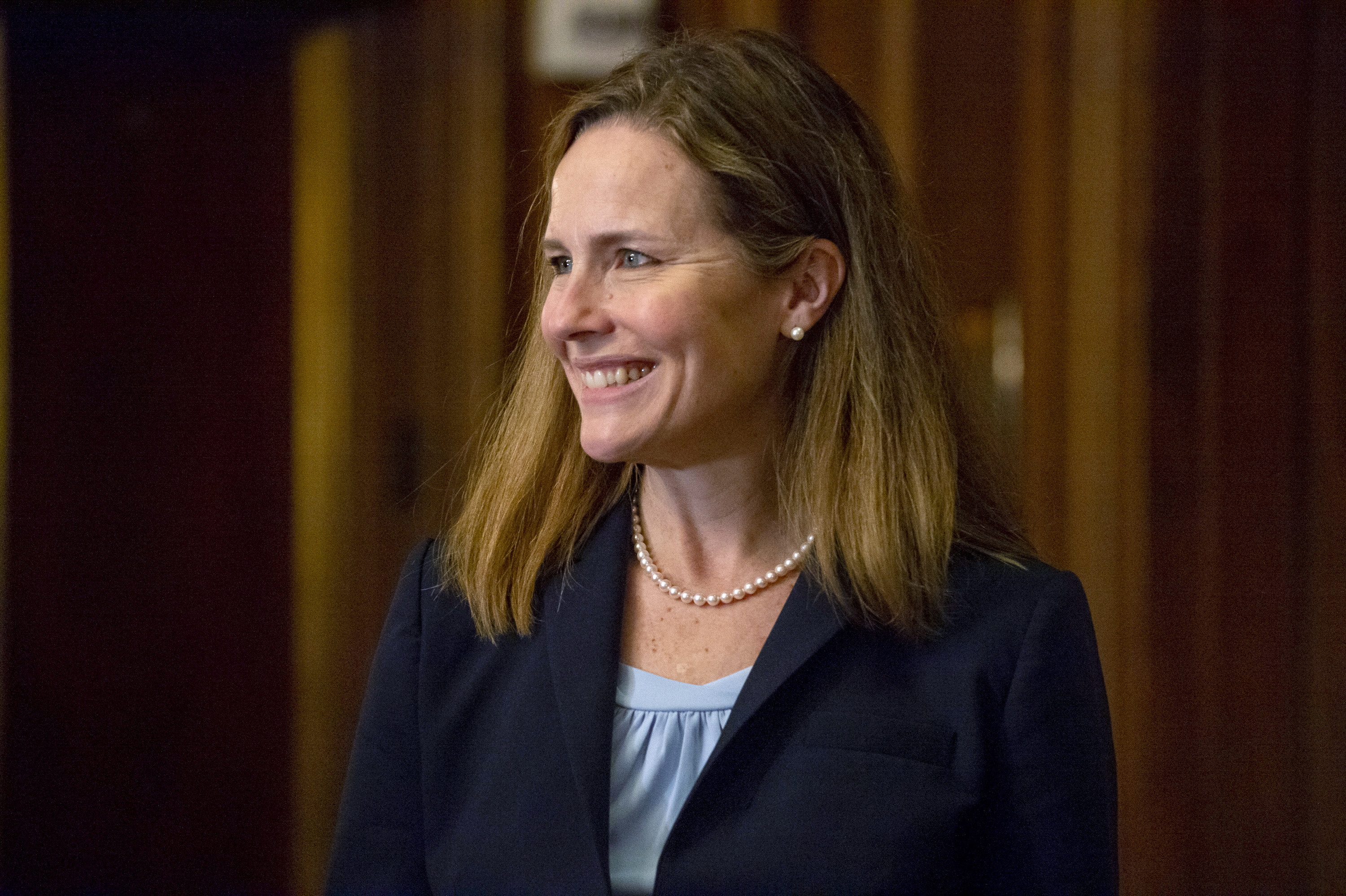 Judge Amy Coney Barrett, who is President Donald Trump's nominee for the U.S. Supreme Court, attends meetings with senators on Capitol Hill in Washington, Wednesday, Sept. 30, 2020. (AP)