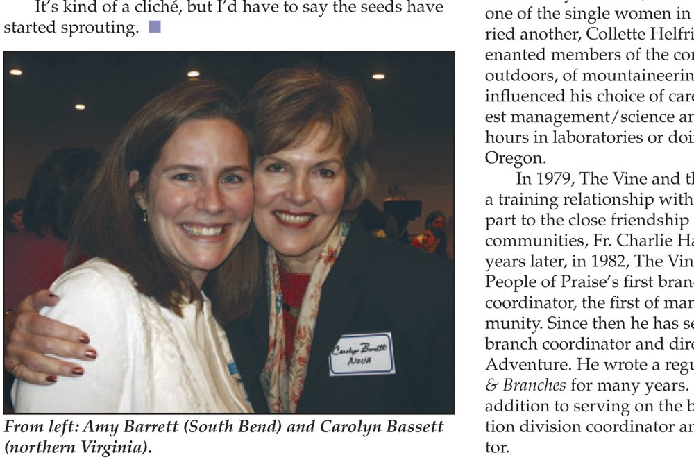 In this page from the May 2006 issue of Vine and Branches produced by People of Praise, Amy Coney Barrett is seen at left in the photo at a People of Praise Leaders' Conference for Women in 2006. (People of Praise via AP)
