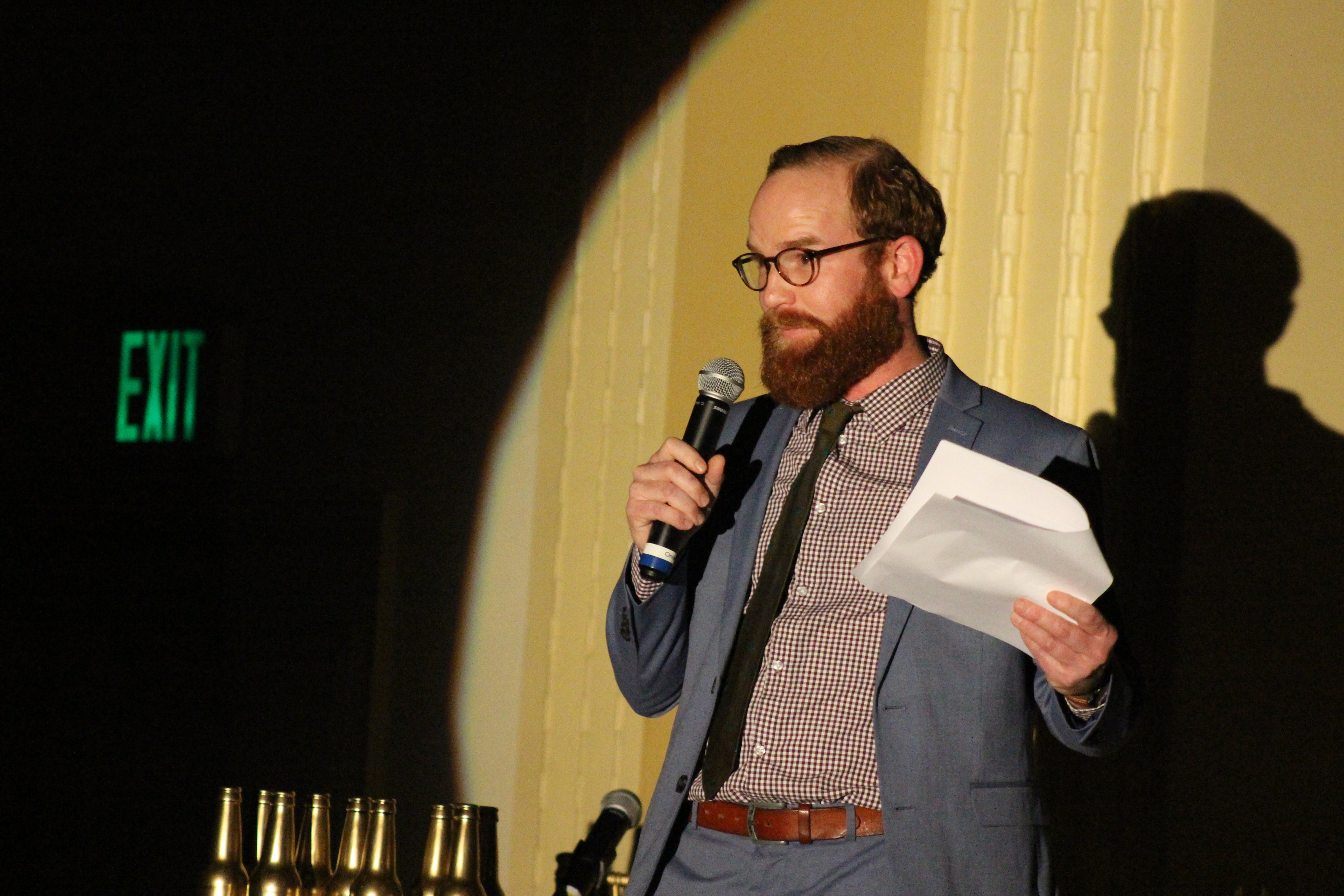 Barristers' Club President Jeff Leuschen delivers a monologue during the Barristers' Club Christmas show at the Paxton Ballroom, 1403 Farnam St., on Dec. 12, 2019. (Photo by Scott Stewart)