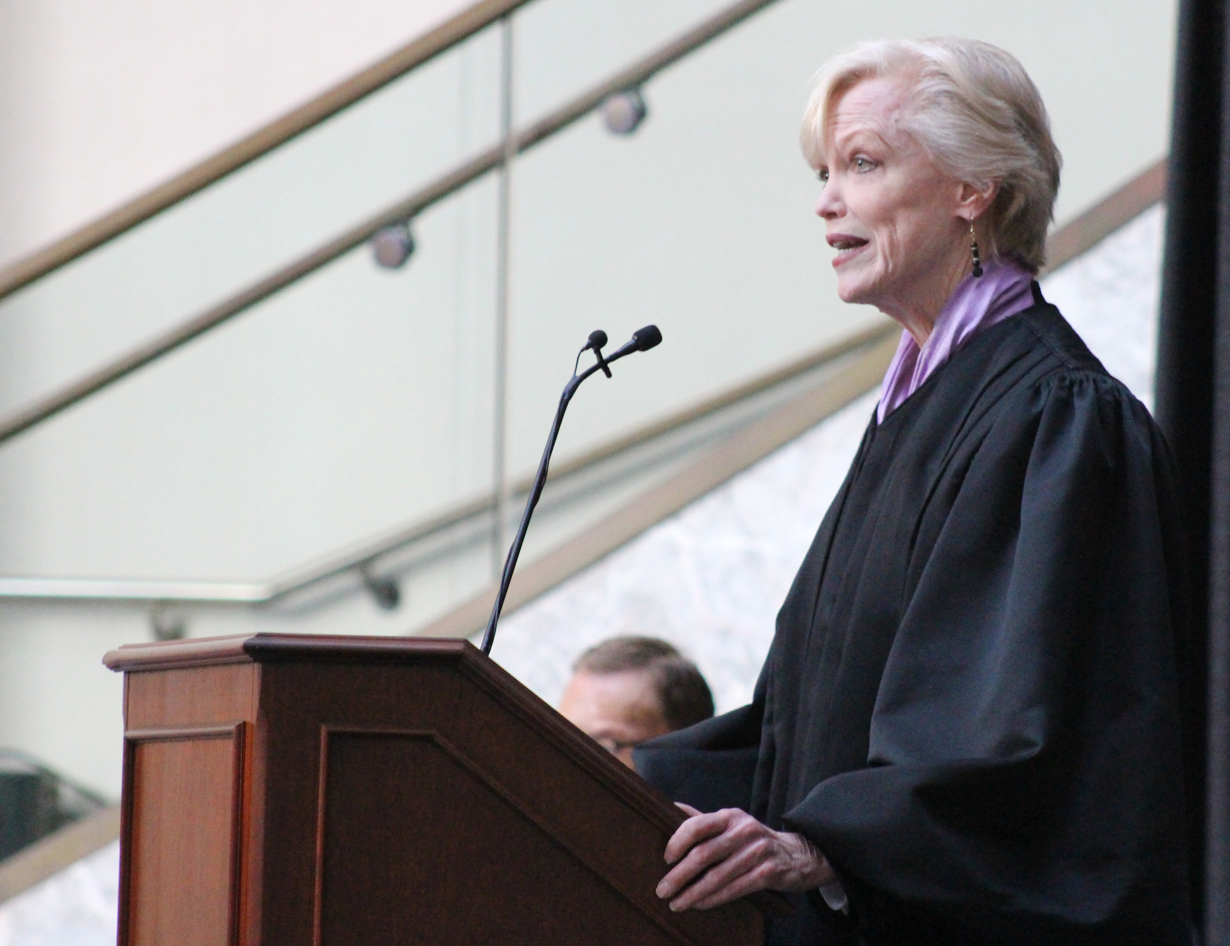 U.S. District Court Senior Judge welcomes the crowd and makes introductions at Brian C. Buescher's investiture ceremony at the Hruska Federal Courthouse on Friday, Nov. 15, 2019. (Photo by Scott Stewart)