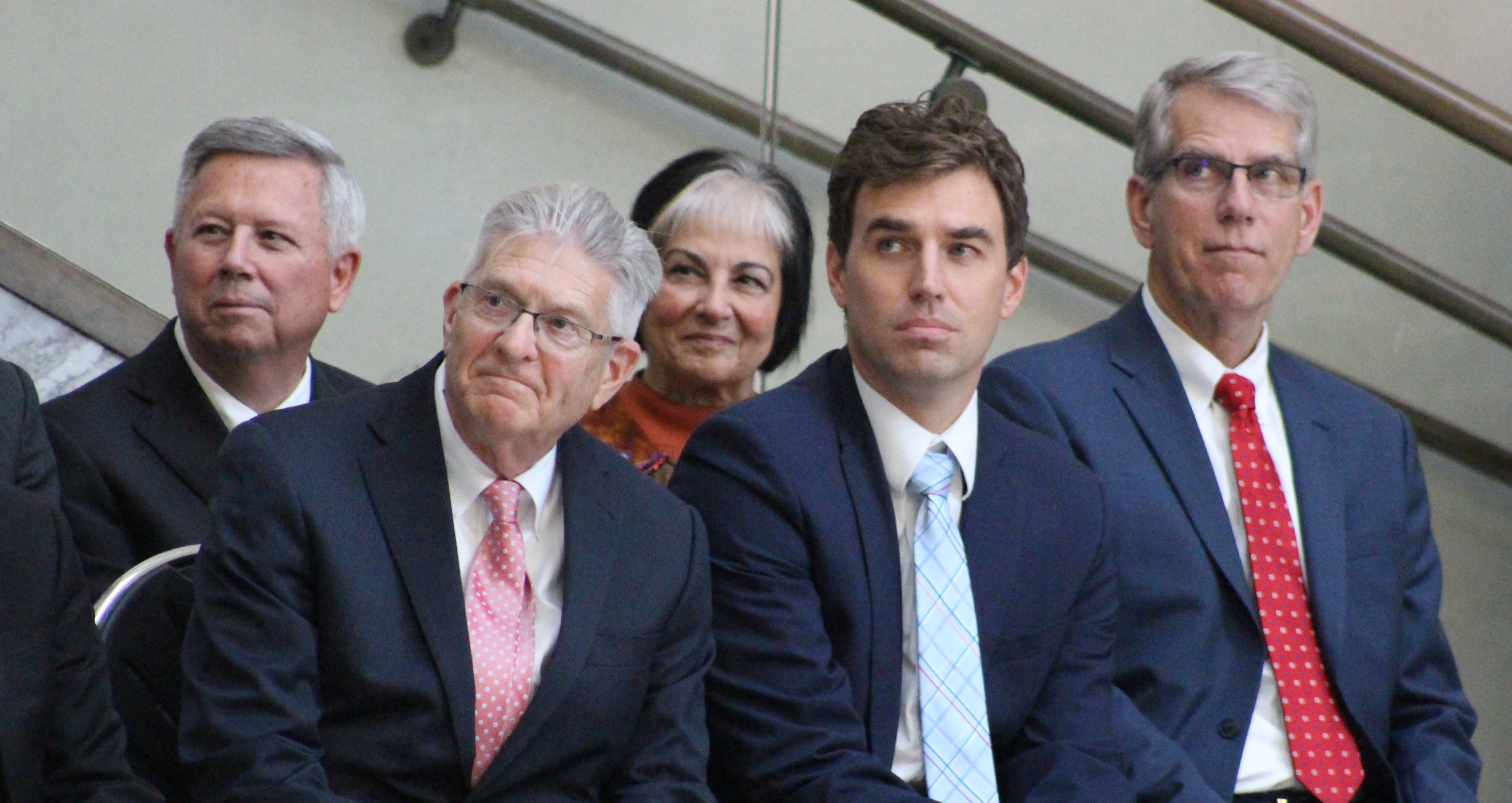 Dignities at Brian C. Buescher's investiture ceremony included state and federal judges along with several current and former state and federal officeholders. (Photo by Scott Stewart)