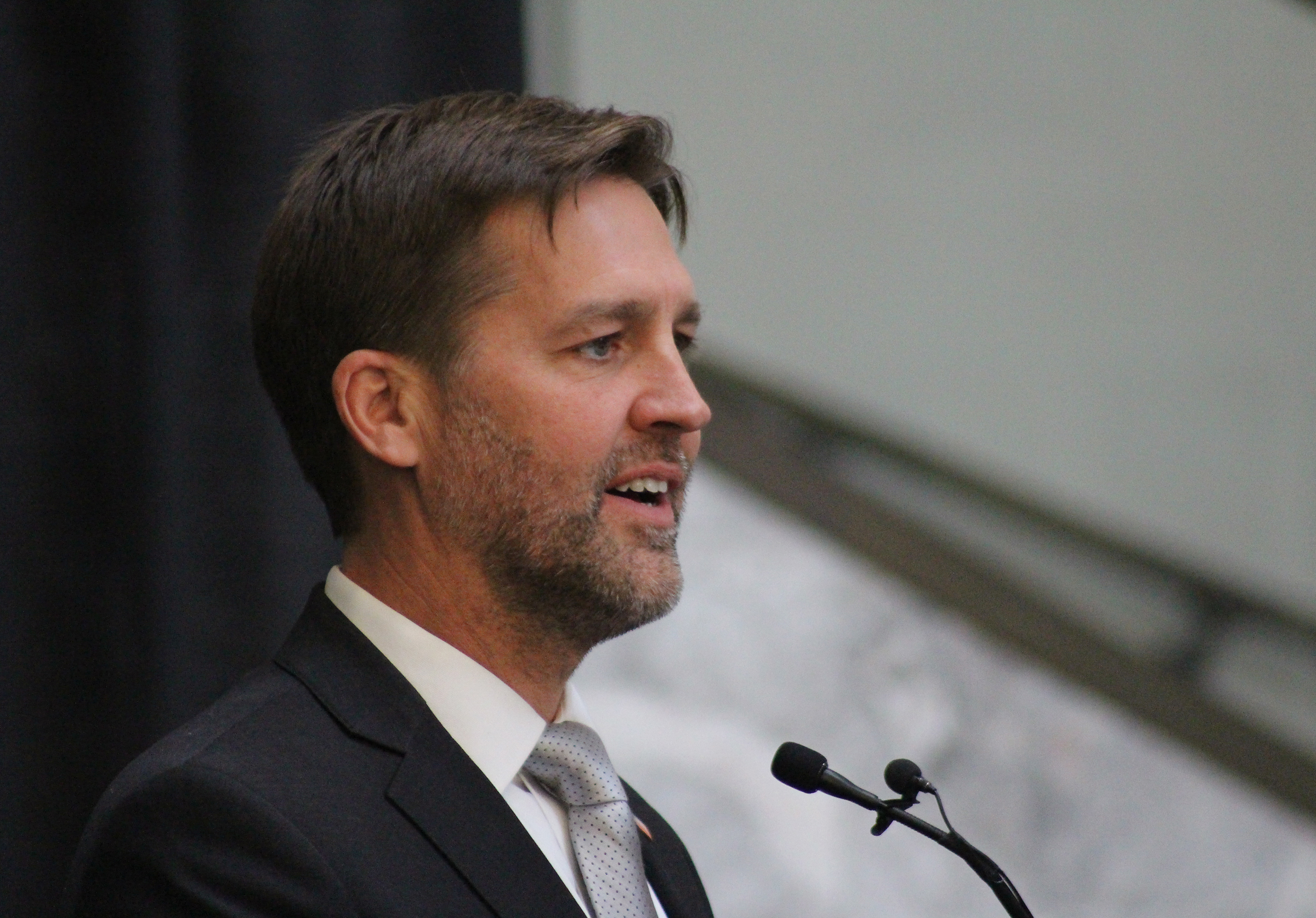 U.S. Sen. Ben Sasse delivers remarks during Brian C. Buescher's investiture ceremony at the Hruska Federal Courthouse on Friday, Nov. 15, 2019. (Photo by Scott Stewart)