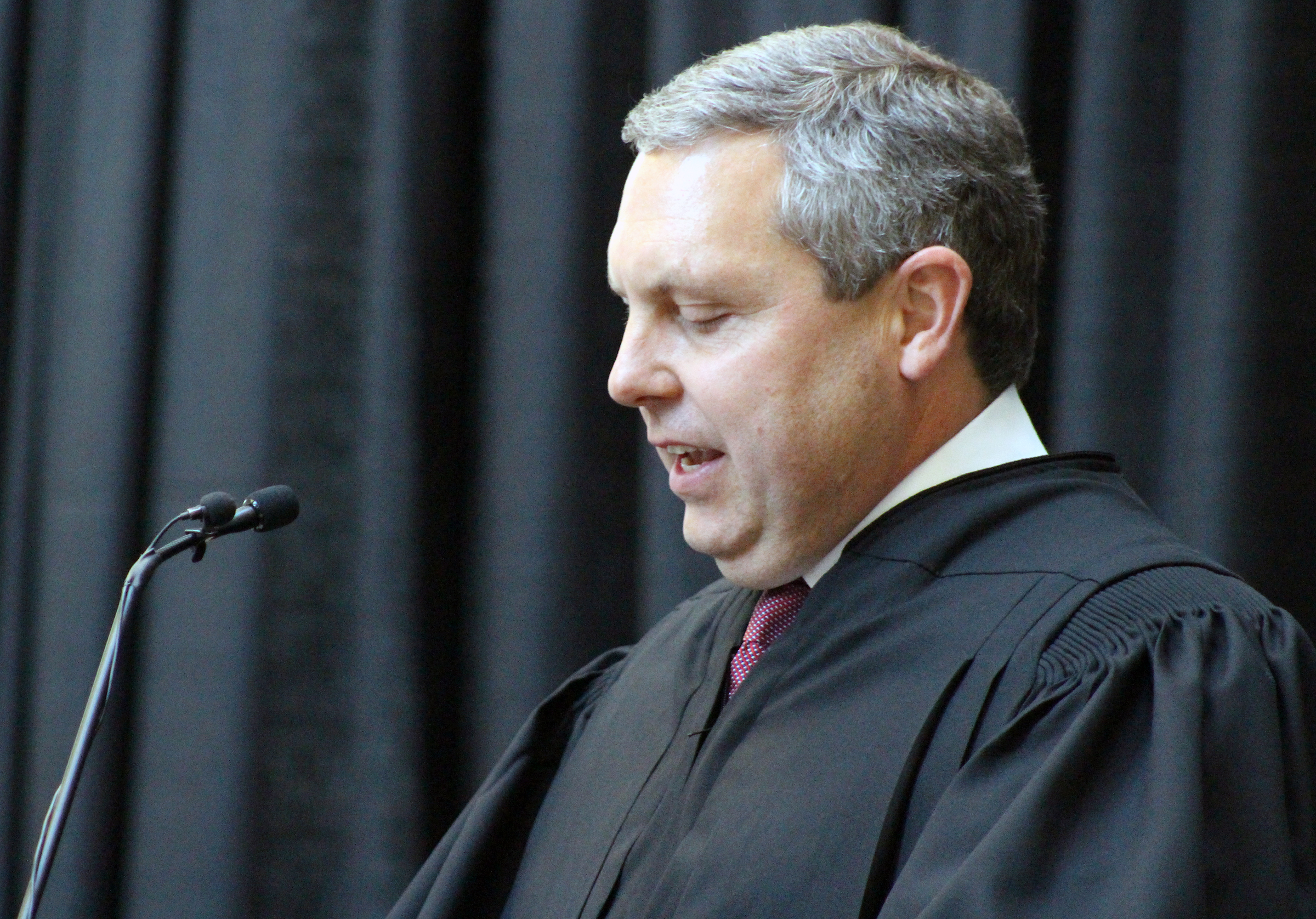 Brian C. Buescher delivers remarks during his investiture ceremony at the Hruska Federal Courthouse on Friday, Nov. 15, 2019. (Photo by Scott Stewart)