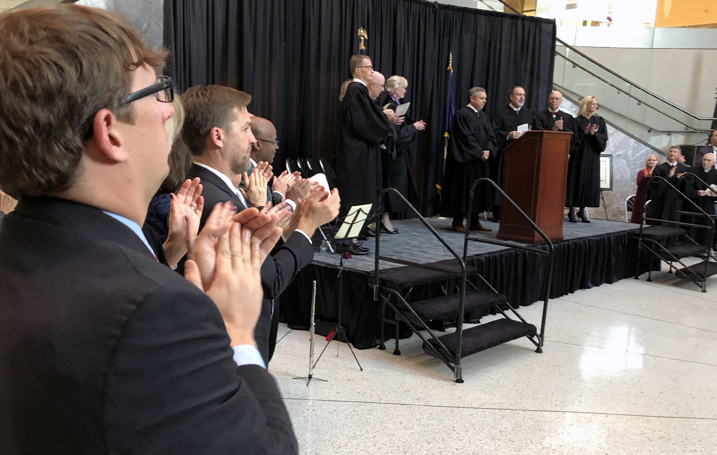 Brian C. Buescher receives applause during his investiture ceremony at the Hruska Federal Courthouse on Friday, Nov. 15, 2019. (Photo by Scott Stewart)