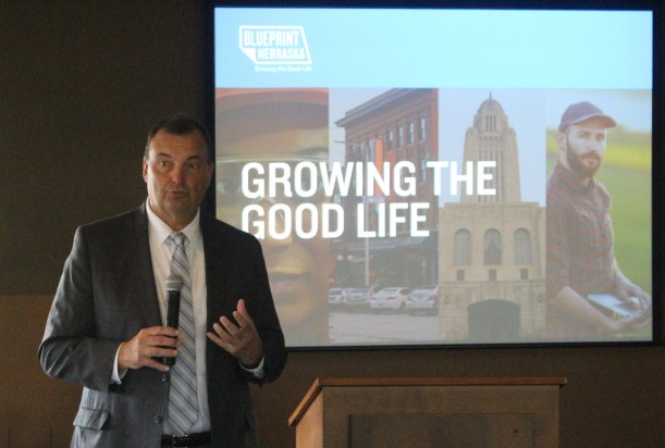 Bryan Slone, president of the Nebraska Chamber, speaks at a Nebraska Chamber of Commerce and Industry Fall Forum held at Tiburon Golf Course on Thursday, Sept. 5, 2019. (Photo by Scott Stewart)