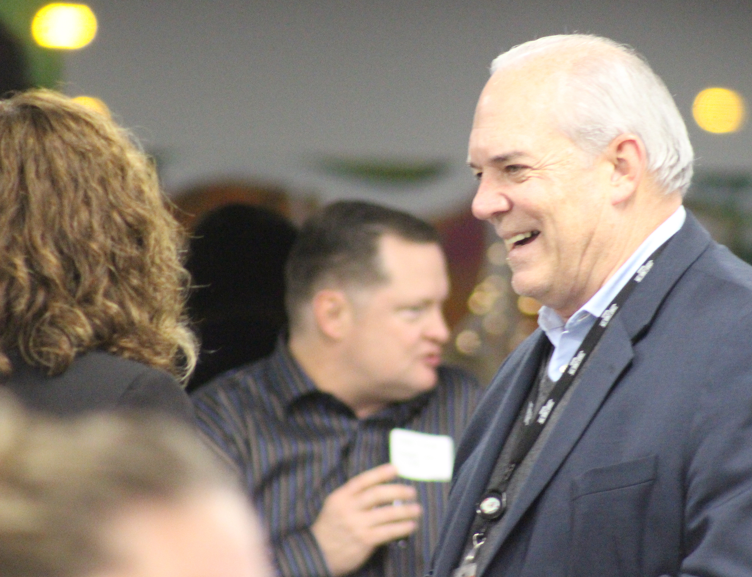 David Brown, president and CEO of the Greater Omaha Chamber, has a conversation during the Member Appreciation Holiday Open House on Thursday, Dec. 5, 2019. (Photo by Scott Stewart)