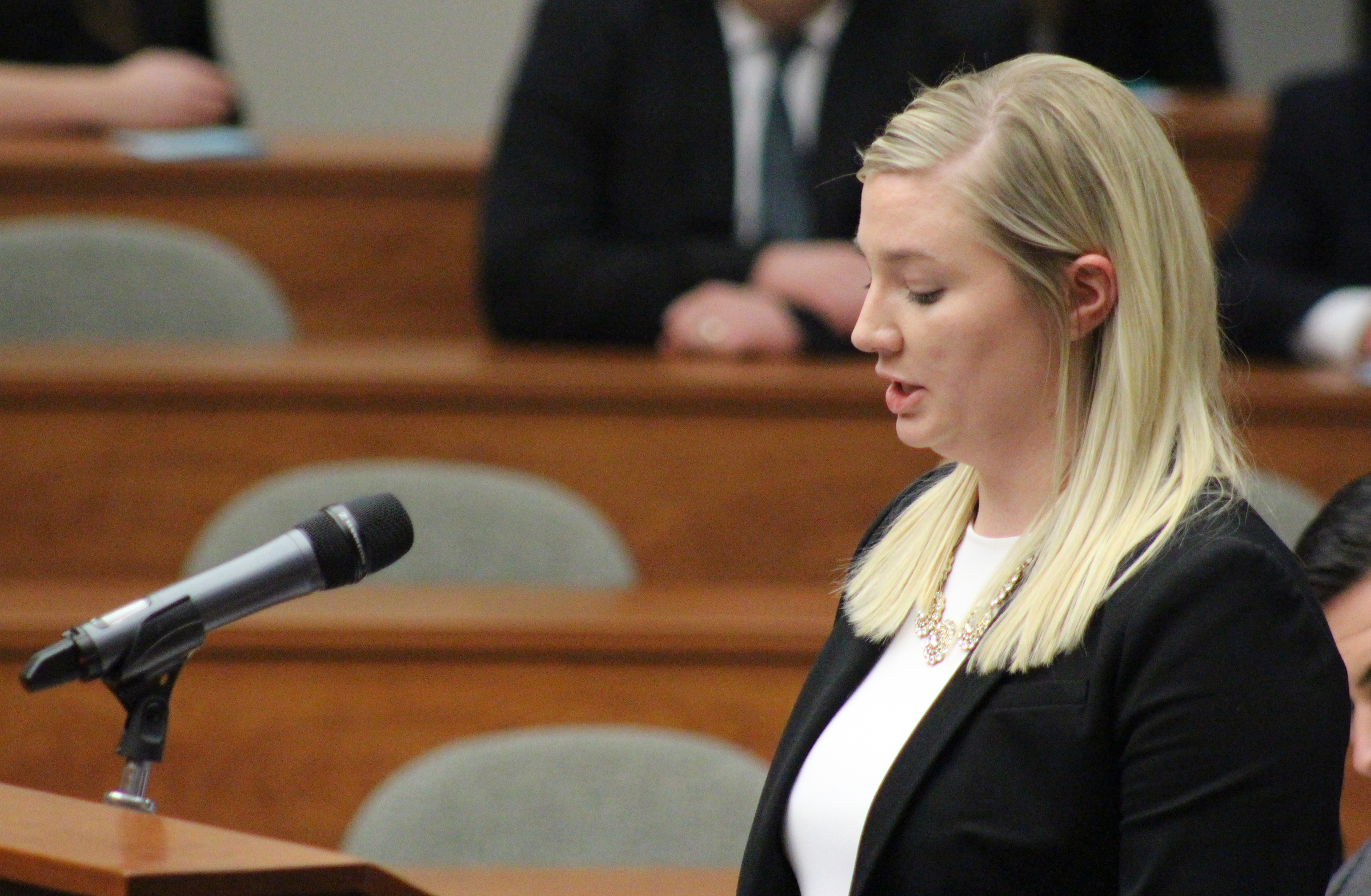 Creighton University second year law student Kristen Lindgren presents the case for the petitioner at the final round of the annual moot court competition at the Creighton University School of Law on Monday, Nov. 4, 2019. (Photo by Scott Stewart)