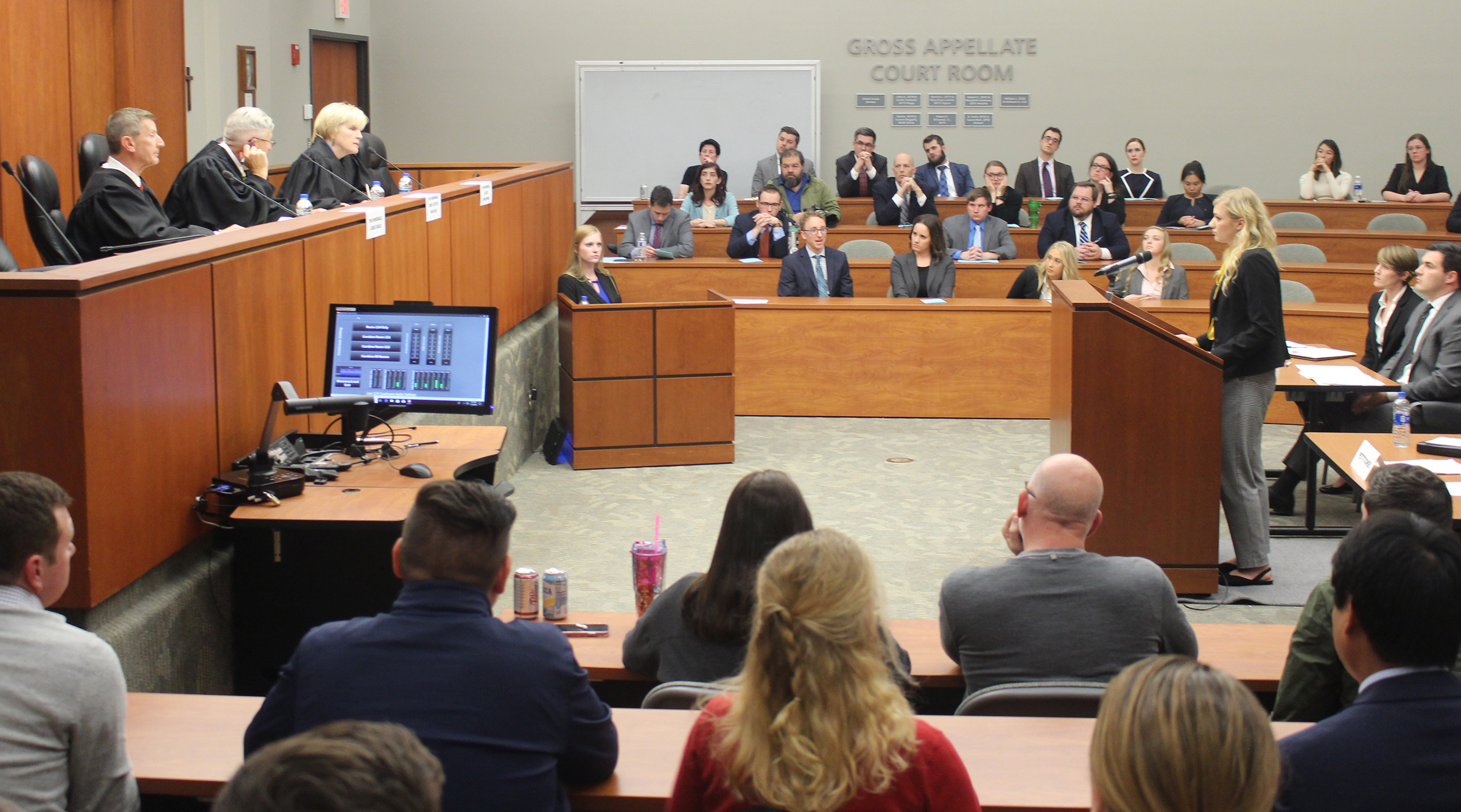 Creighton University second year law student Callie Kanthack, presents an argument during the final round of the annual moot court competition at the Creighton University School of Law on Monday, Nov. 4, 2019.