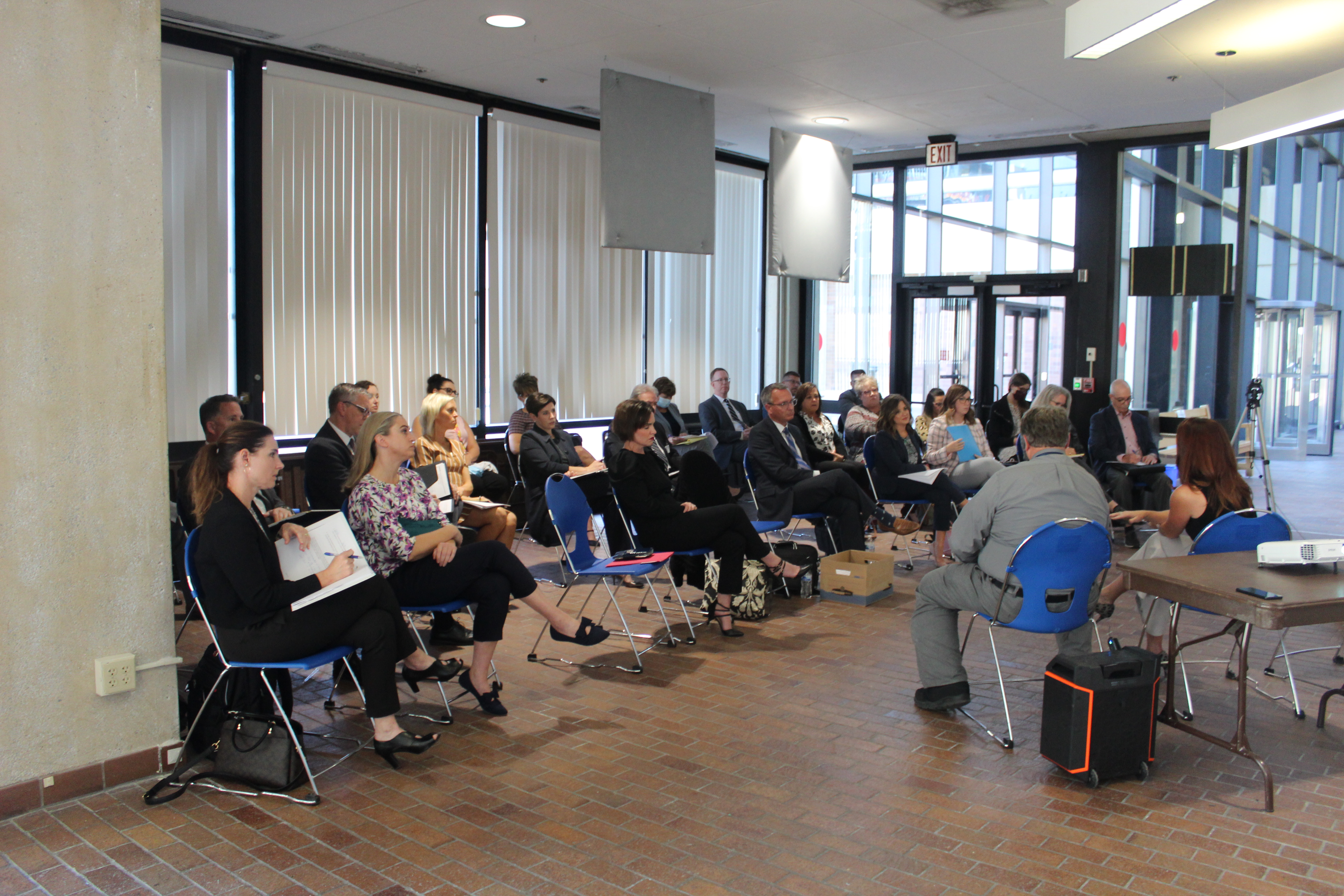 The Omaha Bar Association held a town hall meeting at the Douglas County Courthouse to discuss the future of court reporting in Nebraska, Sept. 22, 2021. (David Golbitz/Daily Record)