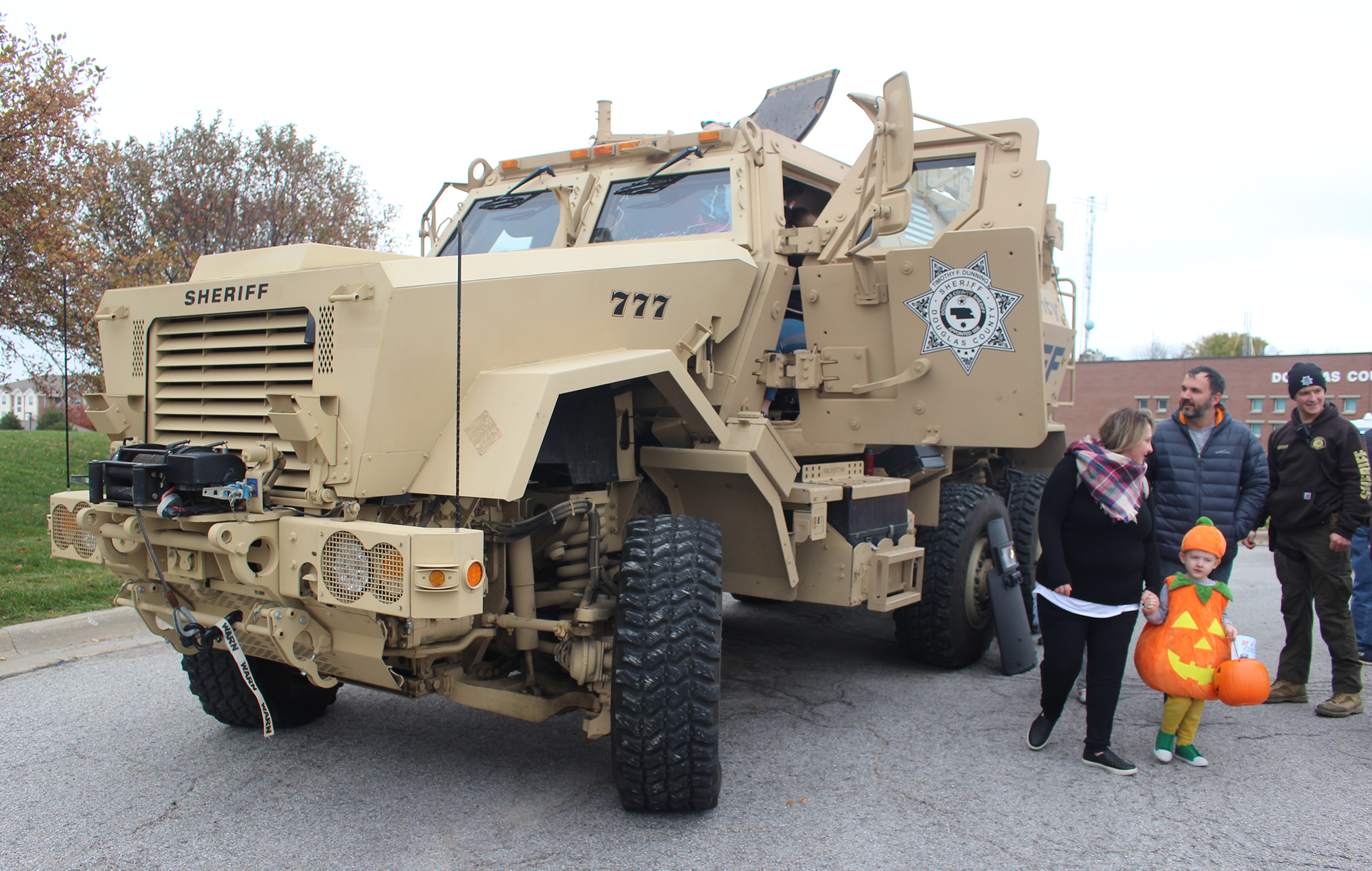An MRAP, a mine-resistant, ambush-protected military tactical vehicle used by the Douglas County Sheriff's Office, was among the vehicles on display at an open house on Saturday, Oct. 27, 2019. (Photo by Scott Stewart)
