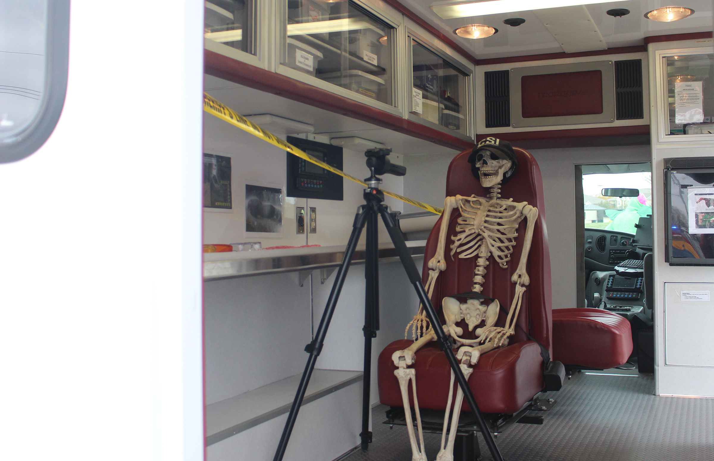 A skeleton crime scene investigator was stationed inside a Douglas County Medical Examiner's ambulance at the open house on Saturday, Oct. 27, 2019. (Photo by Scott Stewart)