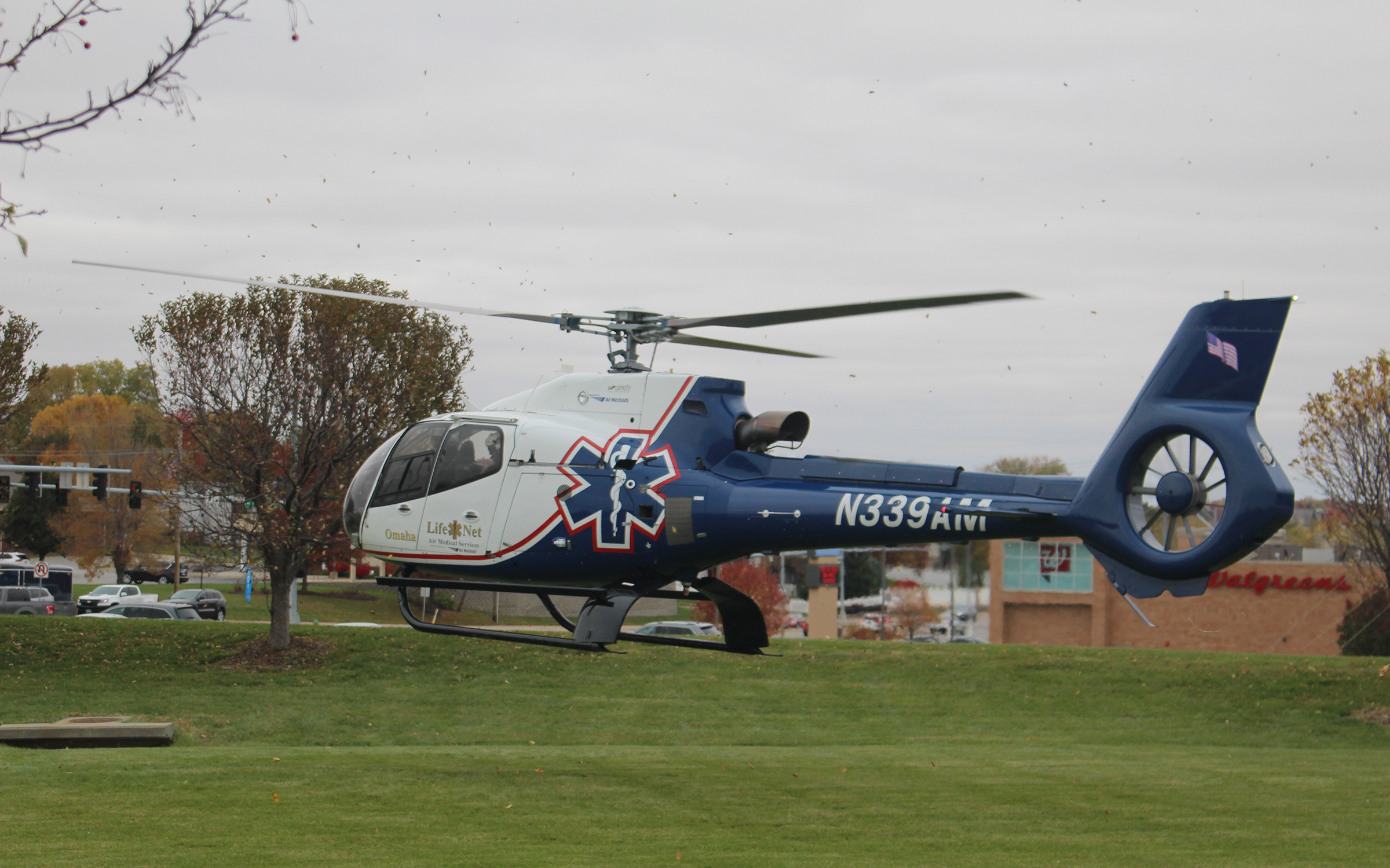 A LifeNet helicopter departs from an open house at the Douglas County Sheriff's Office on Saturday, Oct. 27, 2019. (Photo by Scott Stewart)