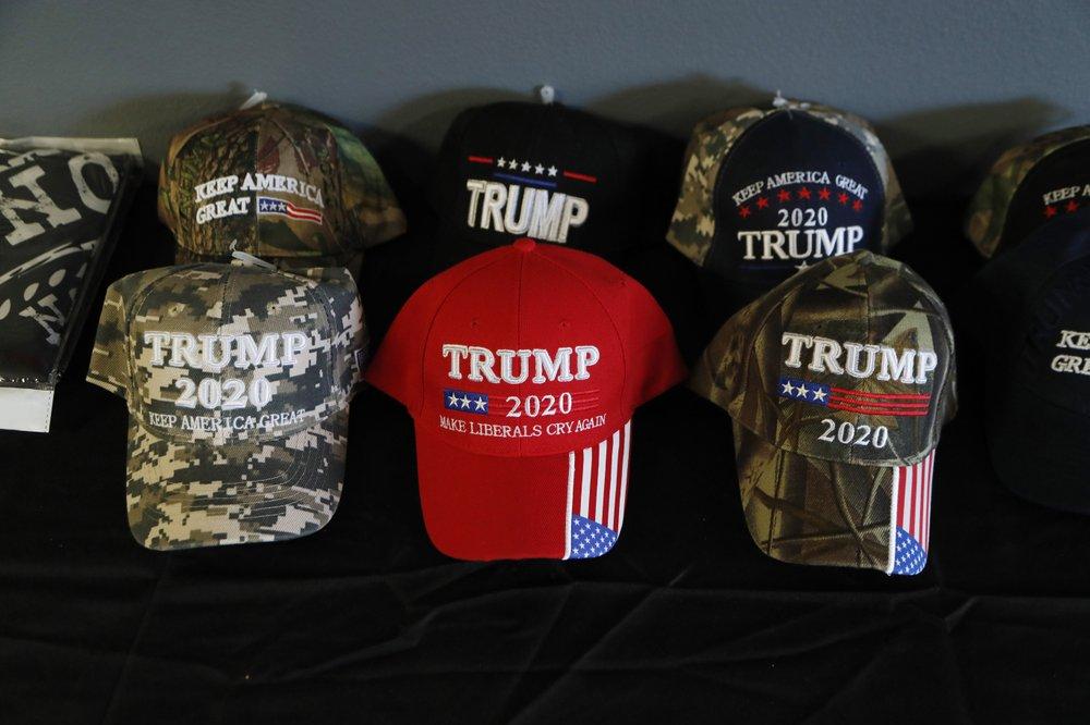 A display of President Trump baseball caps at the Bedford Trump Train headquarters in Temperance, Mich., Jan. 8, 2020. (AP)