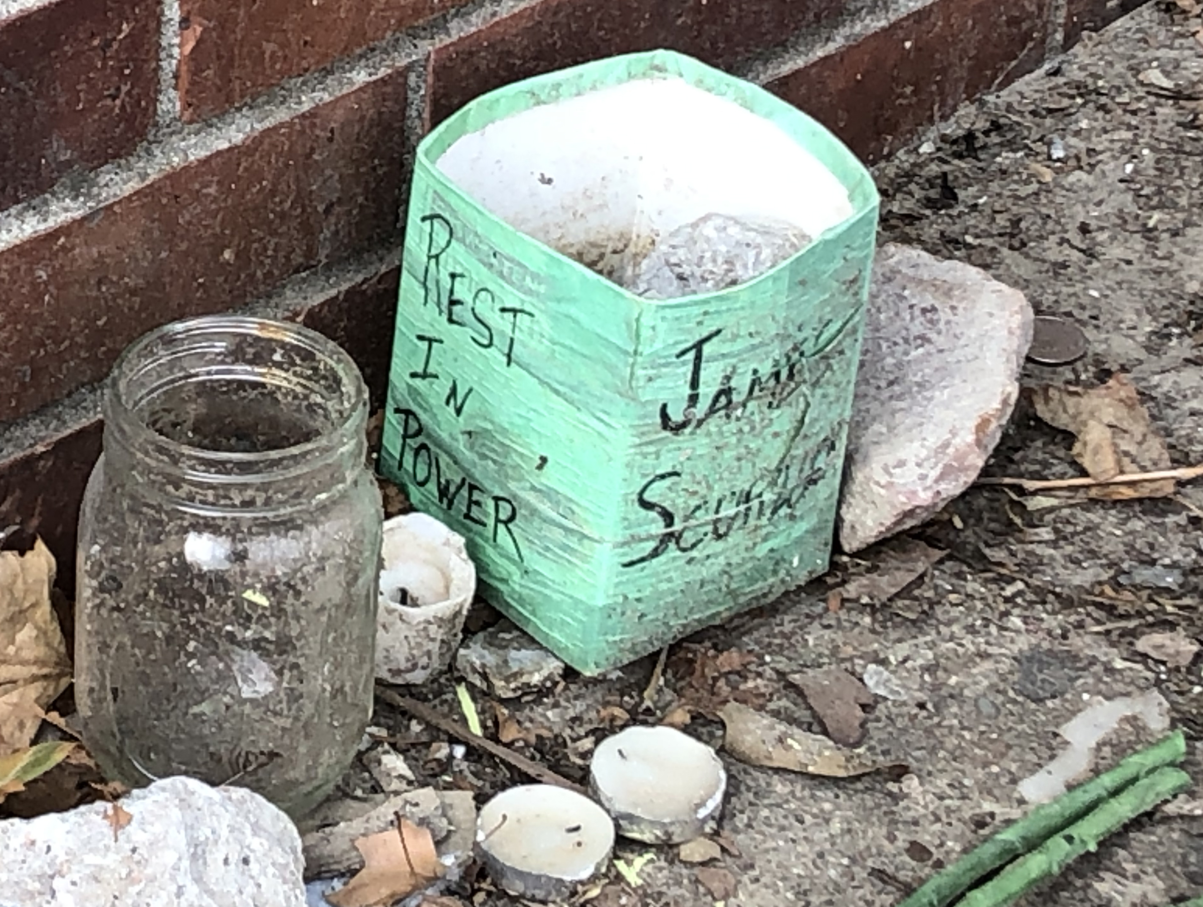 A close-up of part of a memorial for James Scurlock is shown near 12th and Harney streets in downtown Omaha, Wednesday, Sept. 16, 2020. (Scott Stewart/Daily Record)