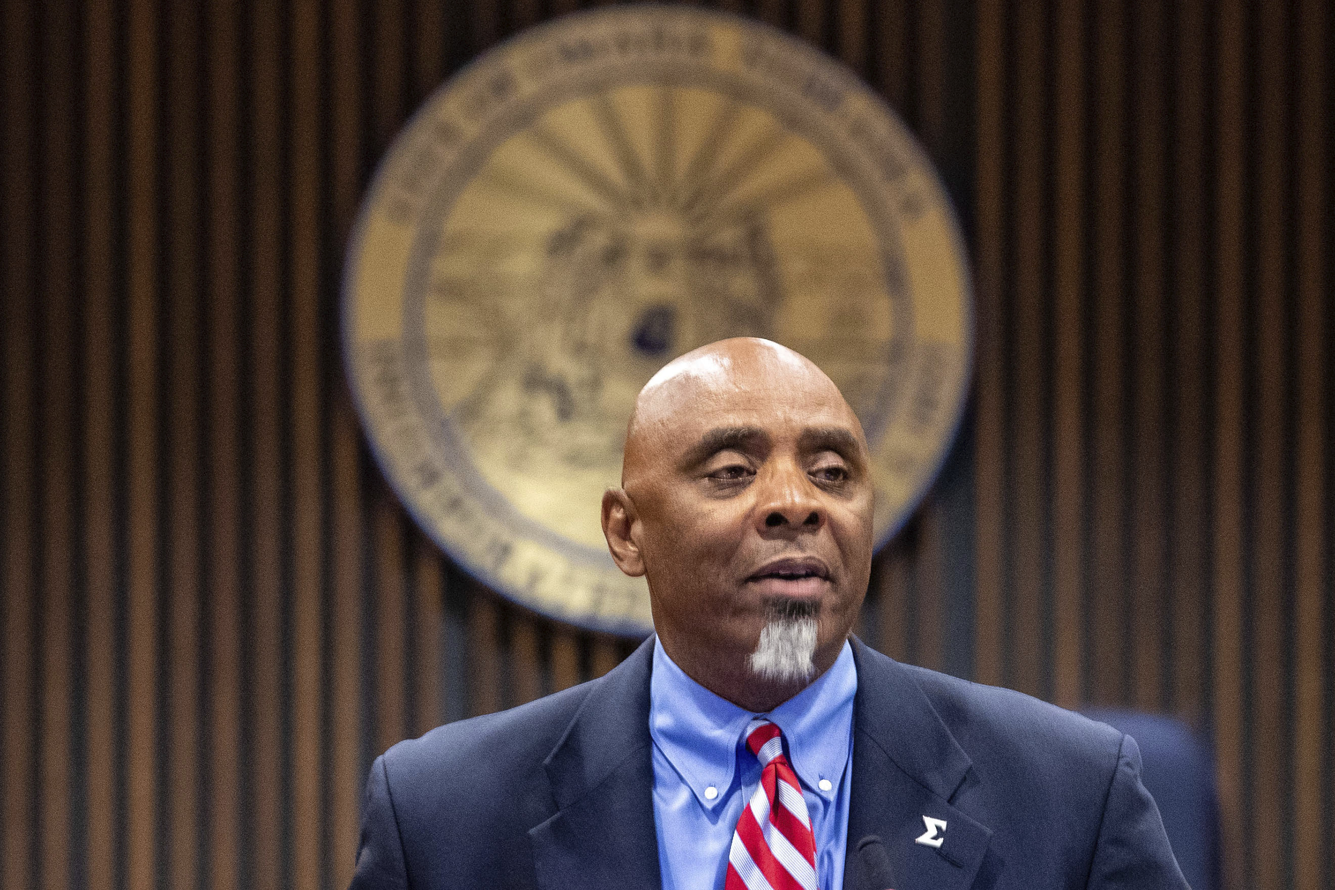 Special prosecutor Fred Franklin announces charges in the shooting death of James Scurlock during a press conference at the Omaha city council legislative chambers on Tuesday, Sept. 15, 2020, in Omaha. (Chris Machian/Omaha World-Herald via AP)