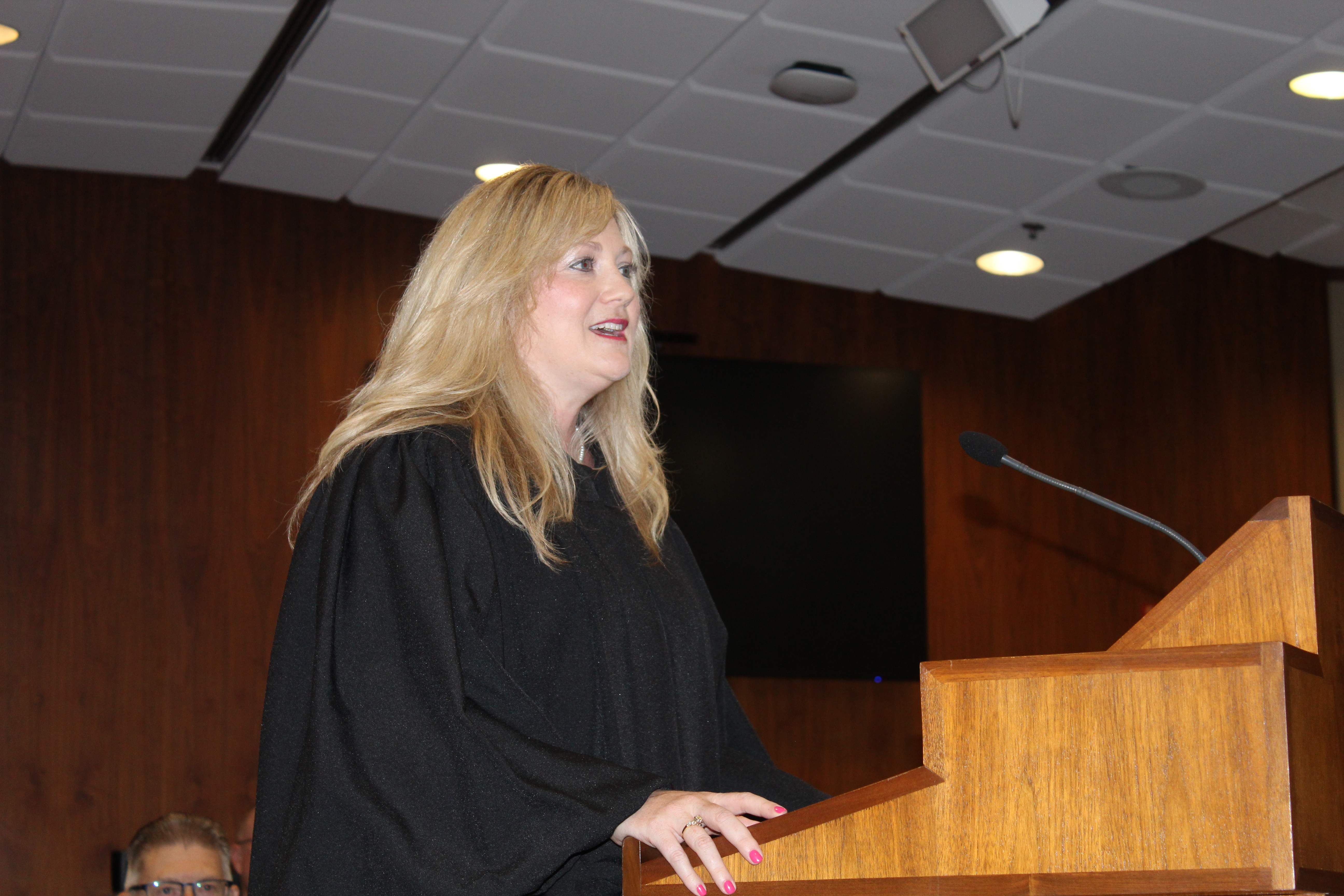 Douglas County Juvenile Court Judge Candice J. Novak delivers remarks during her investiture ceremony, Friday, June 11, 2021. (David Golbitz/Daily Record)