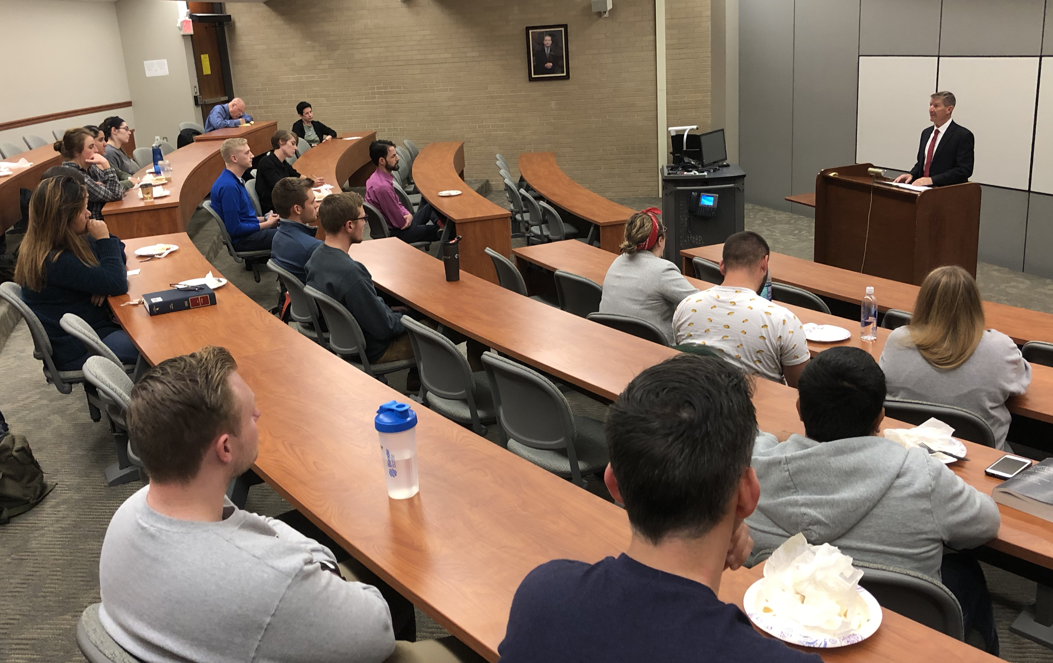 Eighth Circuit Court of Appeals Judge L. Steven Grasz speaks about appellate practice to a group of Creighton University School of Law students on Thursday, Oct. 3, 2019. (Photo by Scott Stewart)