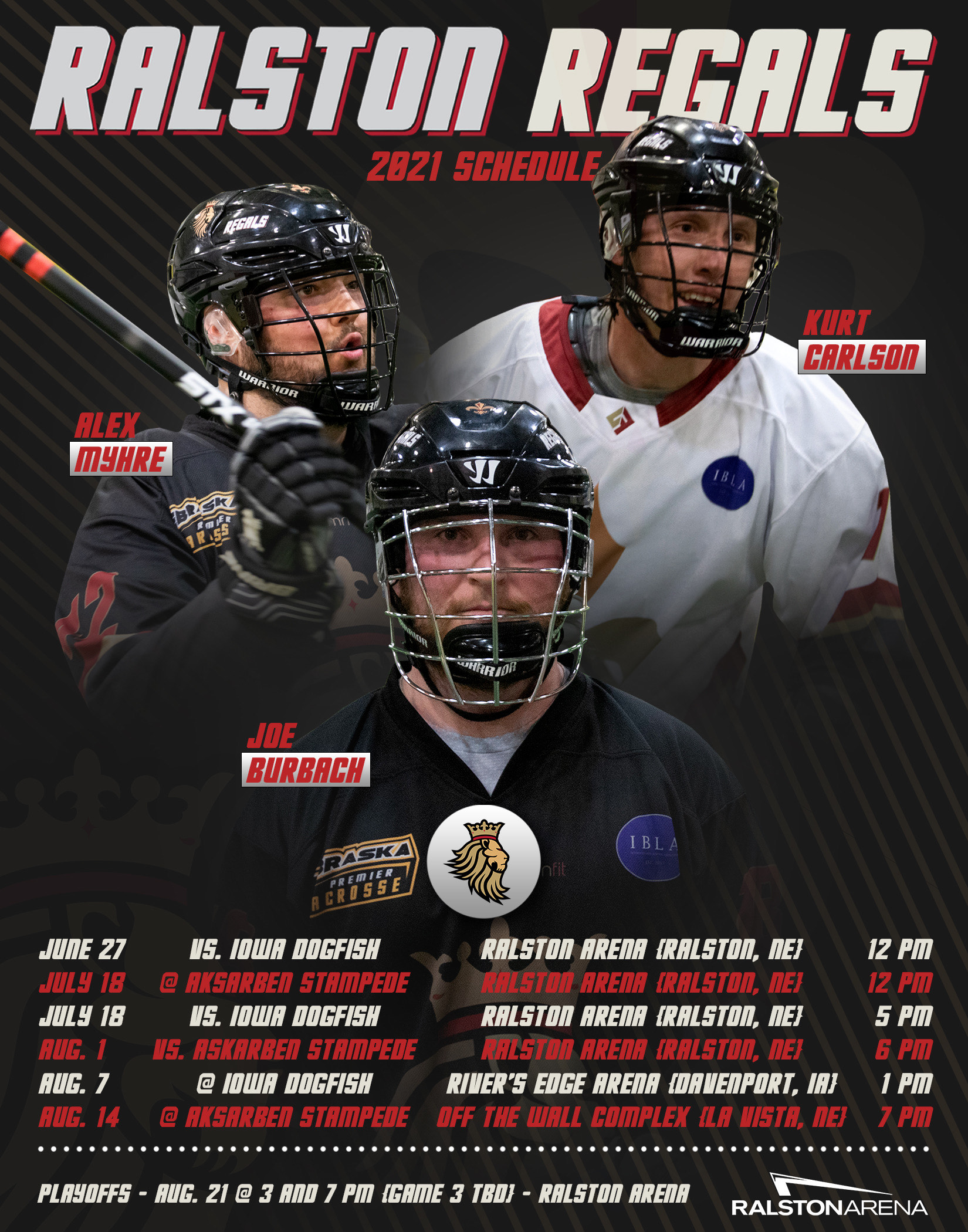 Ralston Regals players are shown on a schedule graphic for the team. (Jillian Humphries)
