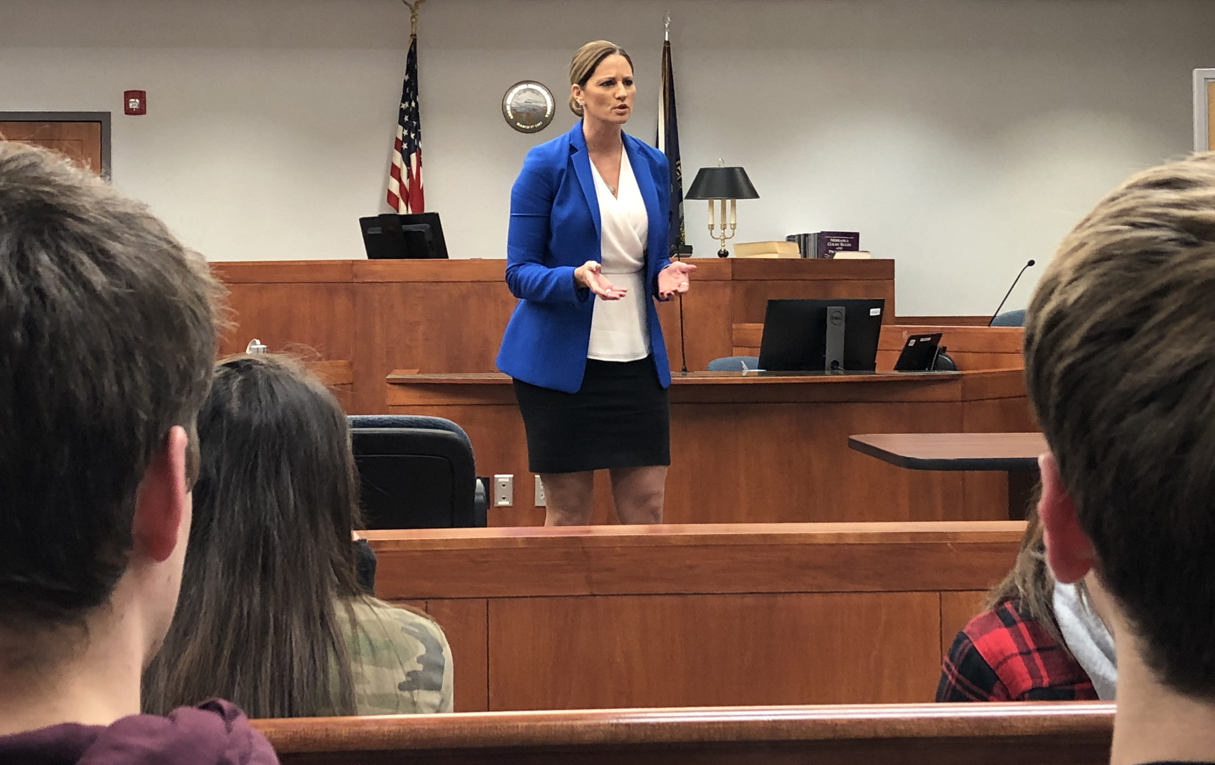 Attorney Mandy M. Gruhlkey speaks with teens in the 2019 Law Academy about her personal experience as a public defender and deputy county attorney at the Sarpy County Courthouse in Papillion, Nov. 7, 2019. (Scott Stewart/Daily Record)