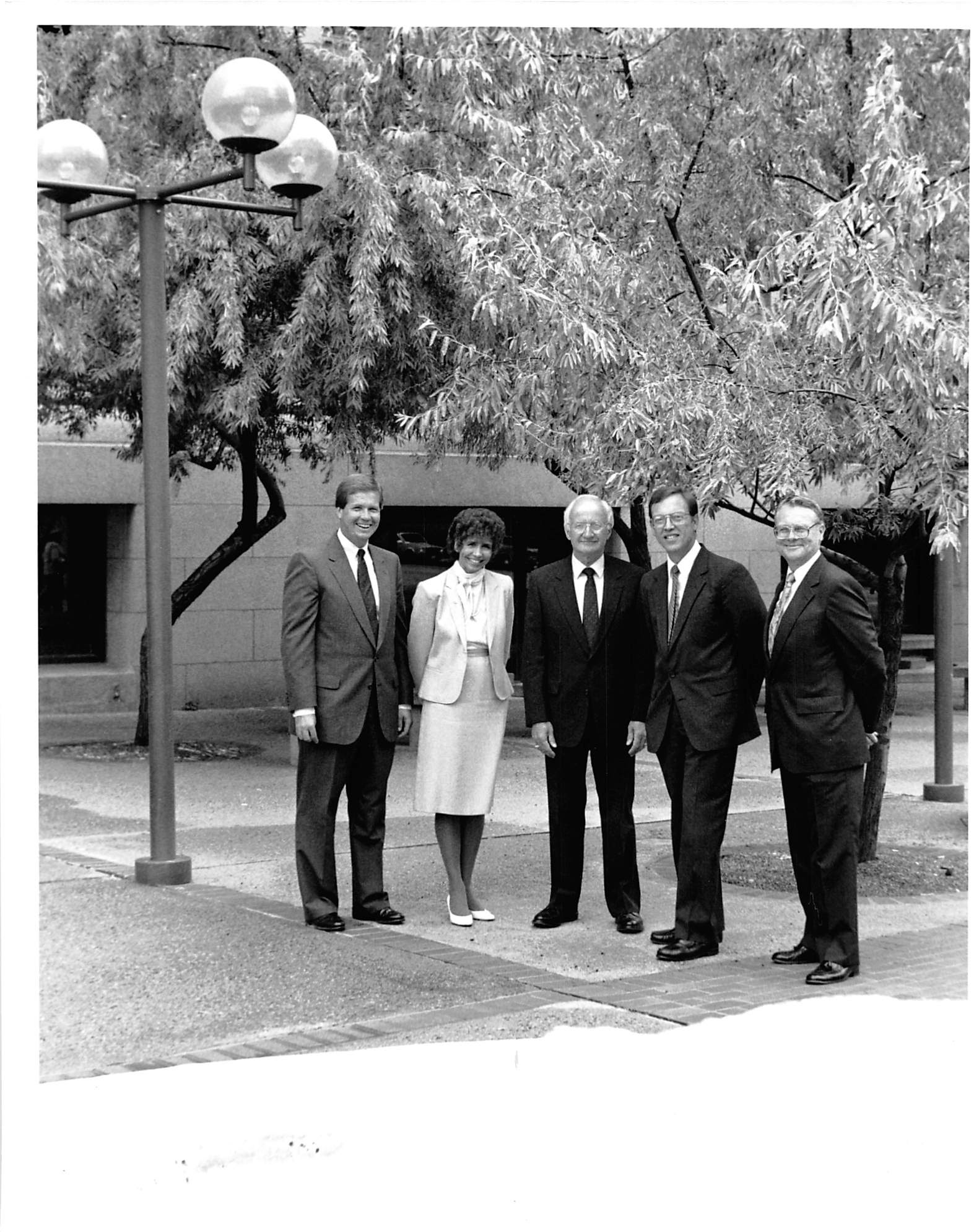 Mardee Korniek is shown in 1994 in front of the Douglas County Courthouse with other members of the Omaha Bar Association leadership. (OBA)