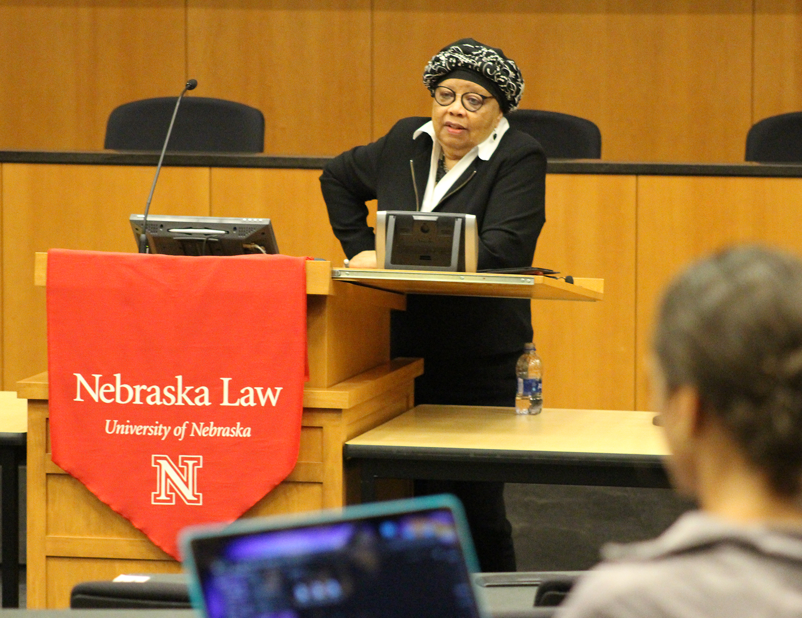 Above: University of Nebraska College of Law Acting Dean Anna Shavers welcomes 3L students back from summer break in the Hamann Auditorium in McCollum Hall on Monday, Aug. 26, 2019. (Photo by Scott Stewart)
