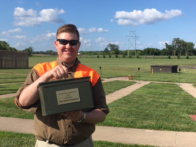 "Spencer Werth won the 2019 trap trophy at the Omaha Bar Association's annual Field Day. Trap was held at Seymour Smith Park. ""It was great day to shoot,"" said Kara Stockdale of Baird Holm, who orga-nized the trap contest. (Courtesy Kara Stockdale)"