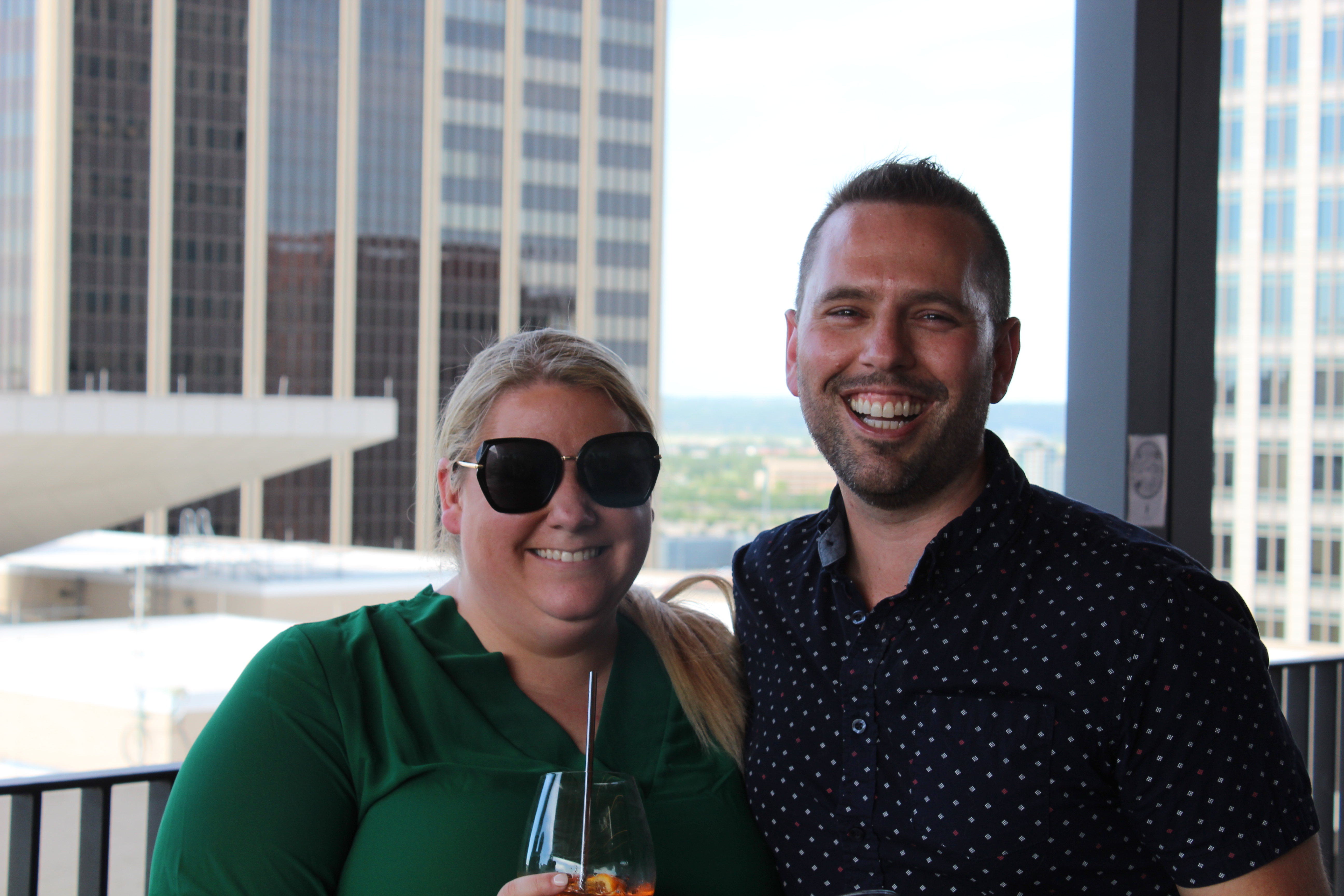 Paige Hall, left, and Josh Woolf smile during the inaugural OBA THAW meetup. (David Golbitz/Daily Record)