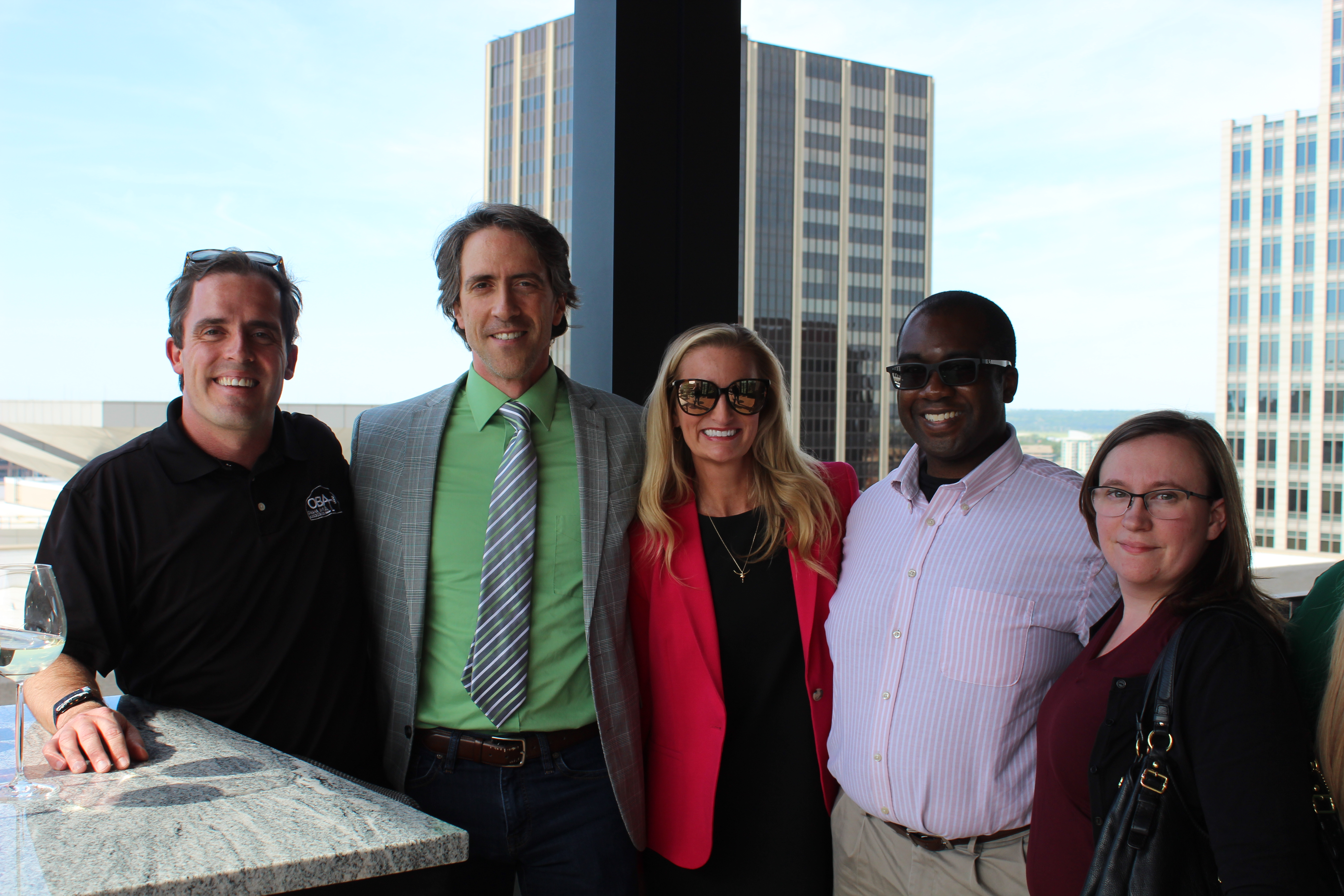 The Omaha Bar Association held its inaugural Thursday After Work gathering at the Peregrine Hotel, Thursday, June 3, 2021. Pictured from left are Dave Sommers, Scott Hahn, Hannah Sommers, Stephen Asante and Danielle Forsgren. (David Golbitz/Daily Record)