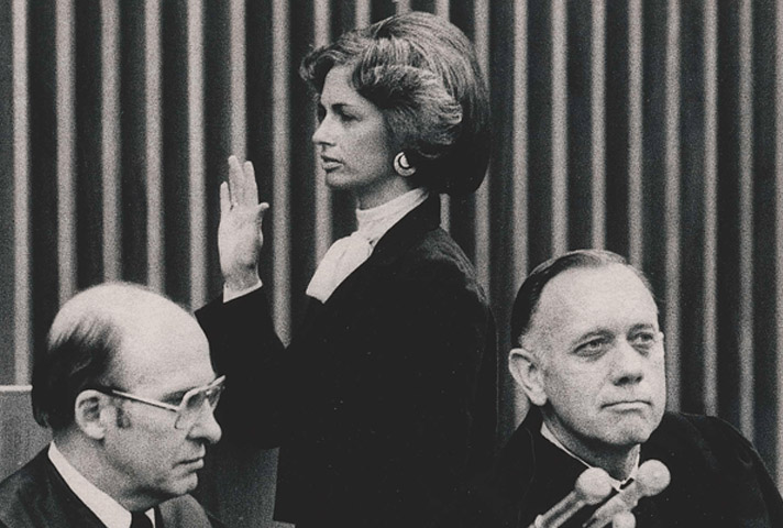 Stephanie Seymour is sworn into the 10th Circuit Court of Appeals in 1979.<br />(Photos courtesy Stephanie Seymour via U.S. Courts)