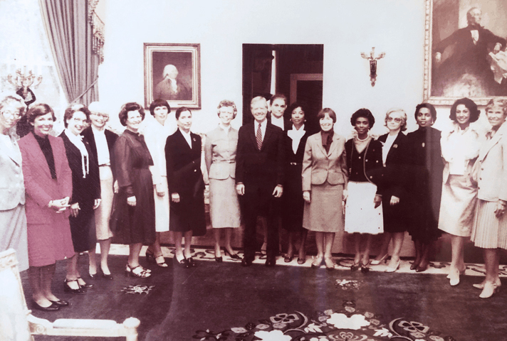 In 1980, President Jimmy Carter met with members of the National Association of Women Judges, many of whom he had appointed to the federal bench. Second and third left of Carter are Justice Ruth Bader Ginsburg, who joined the Court of Appeals for the District of Columbia in 1980, and Mary Murphy Schroeder, appointed to the 9th Circuit Court in 1979. (Courtesy Murphy Schroeder via U.S. Courts)