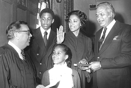 In 1979, with her family at her side, Judge Anne E. Thompson is sworn in as a federal judge in the District of New Jersey. (Courtesy Anne E. Thompson via U.S. Courts)