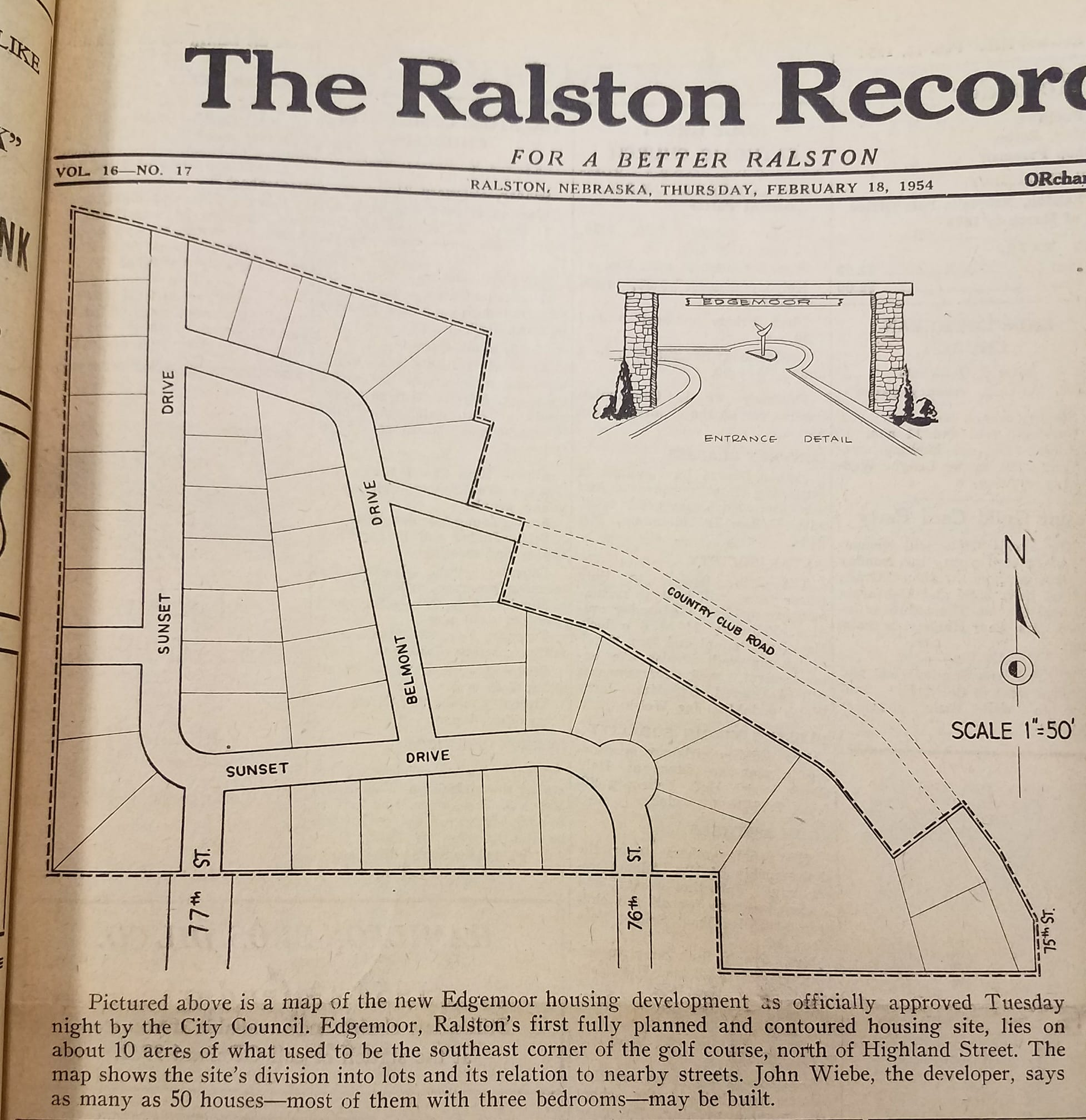 The front page of the Feb. 18, 1954, issue of The Ralston Recorder discusses the Edgemoor housing development. (Frank and Velma Johnson Ralston Archives Museum)