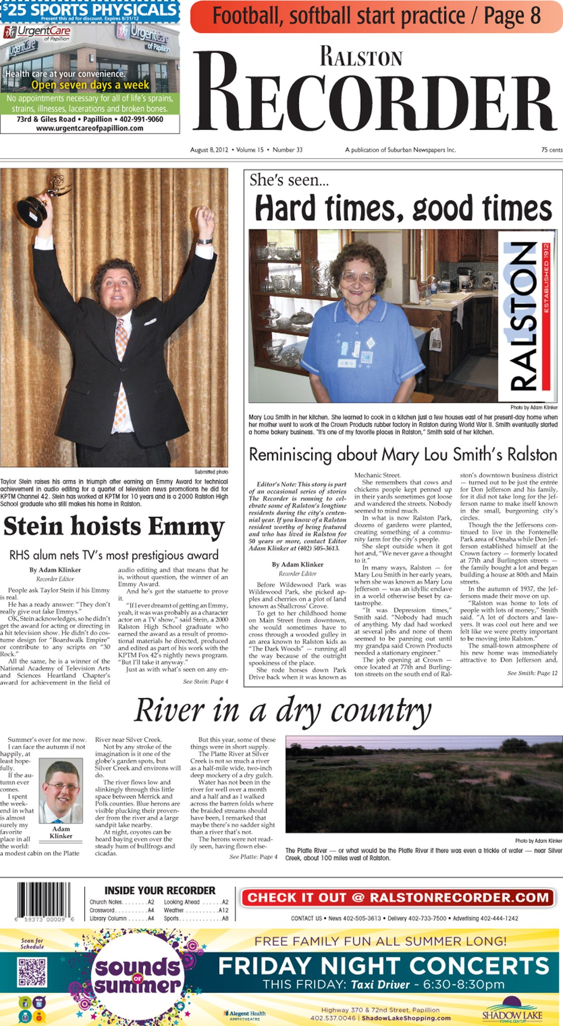 The front page of the Aug. 8, 2012, issue of The Ralston Recorder, under Adam Klinker's editorship. (Frank and Velma Johnson Ralston Archives Museum)