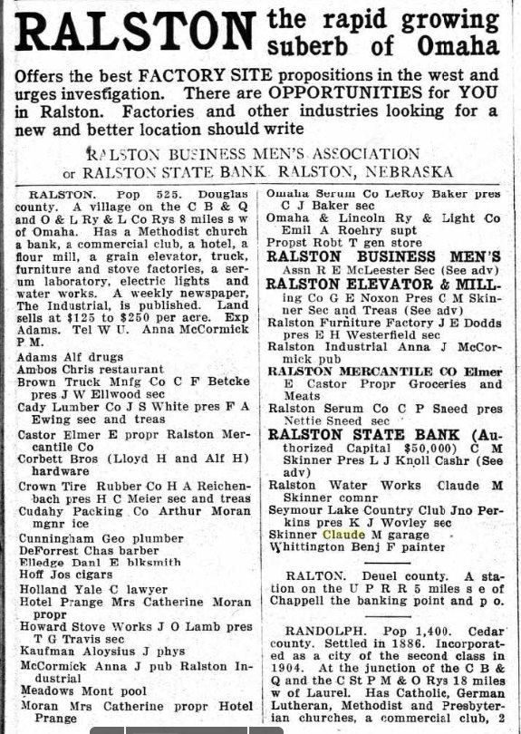An ad from The Recorder touts a factory site in Ralston. (Frank and Velma Johnson Ralston Archives Museum)
