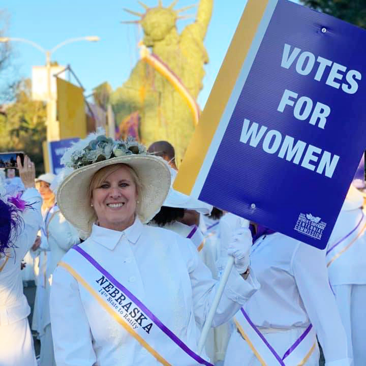 Mary Ann Borgeson represents Nebraska as part of a women's suffrage float in the Rose Parade in Pasadena, Calif., on Jan. 1, 2020. (Courtesy Mary Ann Borgeson)