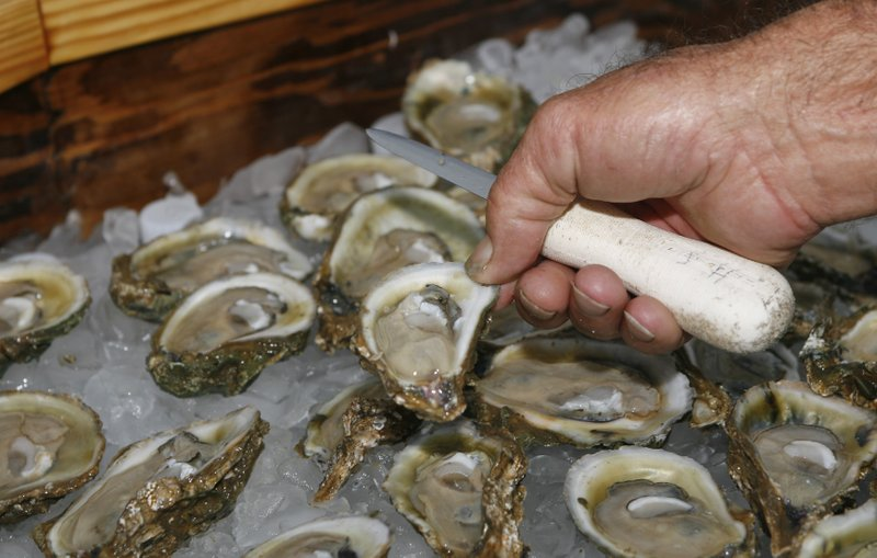 Oysters are displayed in Apalachicola, Fla., Aug. 13, 2013. The Supreme Court has ruled unanimously for Georgia in its long-running dispute with Florida over water. The court on Thursday, April 1, 2021, rejected Florida's claim that Georgia uses too much of the water that flows from the Atlanta suburbs to the Gulf of Mexico. (AP)