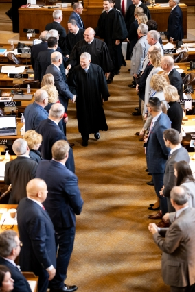 Nebraska Supreme Court Chief Justice Michael Heavican and other members of the court depart the legislative chamber on Wednesday, Jan. 22, 2020. (Courtesy Nebraska Judicial Branch)