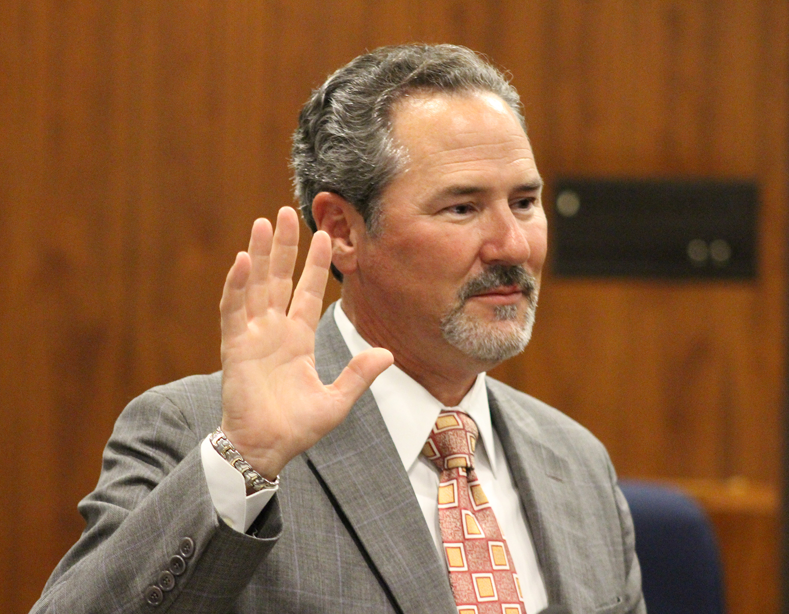 Judge Grant A. Forsberg takes his oath of office in the legisla-tive chambers of the Omaha-Douglas Civic Center on Friday, Aug. 2, 2019. (Photo by Scott Stewart)
