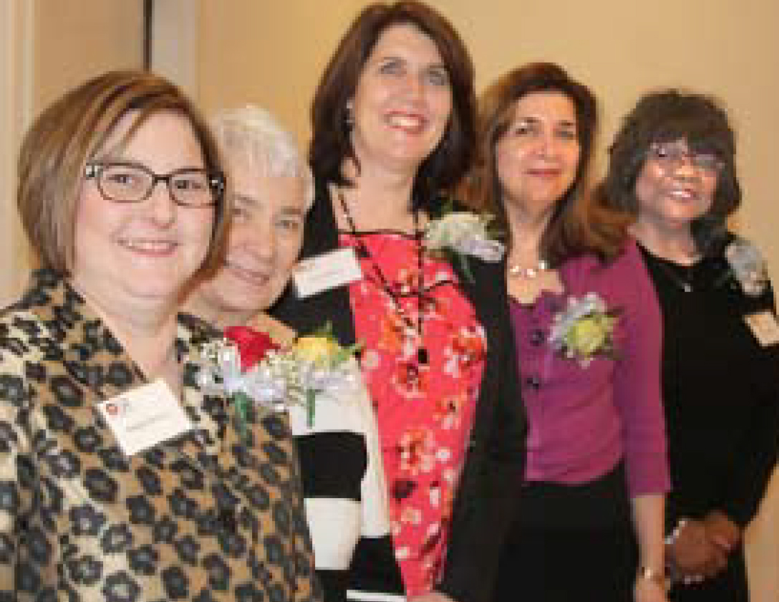 Nadine Ostrow, President; Jean Roeder, Vice President; Donna Olson, Secretary; Jeanne Mangimelli, Treasurer; and Doris Crayton, Chapter Representative are the 2018-2019 OLPA officers, sworn in at the Annual Awards Banquet and Boss Appreciation Dinner. (Photo by Lorraine Boyd)
