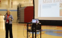 Ralston High School Freshman Success Coordinator Jordan Engel speaks to students at Ralston High School. RHS is implementing a new freshman program for the first time this year. (Ralston Public Schools)