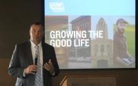 Bryan Slone, president of the Nebraska Chamber, speaks at a Nebraska Chamber of Commerce and Industry Fall Forum held at Tiburon Golf Course on Thursday, Sept. 5, 2019. (Photo by Scott Stewart)