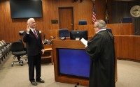 Douglas County commissioners were sworn in earlier this month. Mike Friend, took the oath of office Tuesday, Jan. 5, 2021. (Leia Baez/Douglas County)