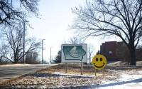 The Glenwood Resource Center campus entrance in Glenwood, Iowa, is shown Dec. 19, 2019. (Kelsey Kremer/Des Moines Register via AP)
