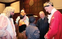 Judge Lyle E. Strom presides, and visits with jurors after the 17-3 decision in favor of Cinderella.