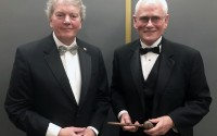 J. Scott Paul, left, outgoing Nebraska State Bar Association president, poses for a photo with Steven F. Mattoon, NSBA president elect, during a ceremonial gavel passing reception at the Happy Hollow Club in Omaha on Wednesday, Oct. 9, 2019. (Photo by Scott Stewart.)